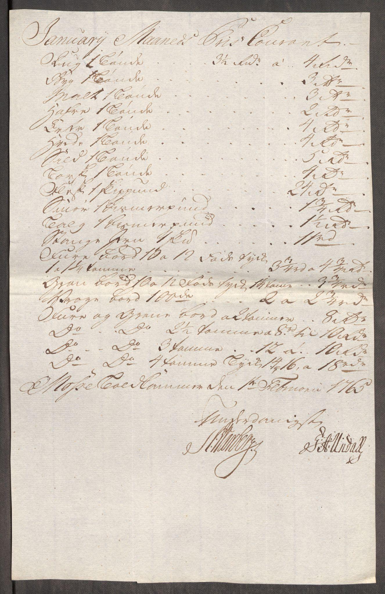 RA, Rentekammeret inntil 1814, Realistisk ordnet avdeling, Oe/L0008: [Ø1]: Priskuranter, 1764-1768, s. 303
