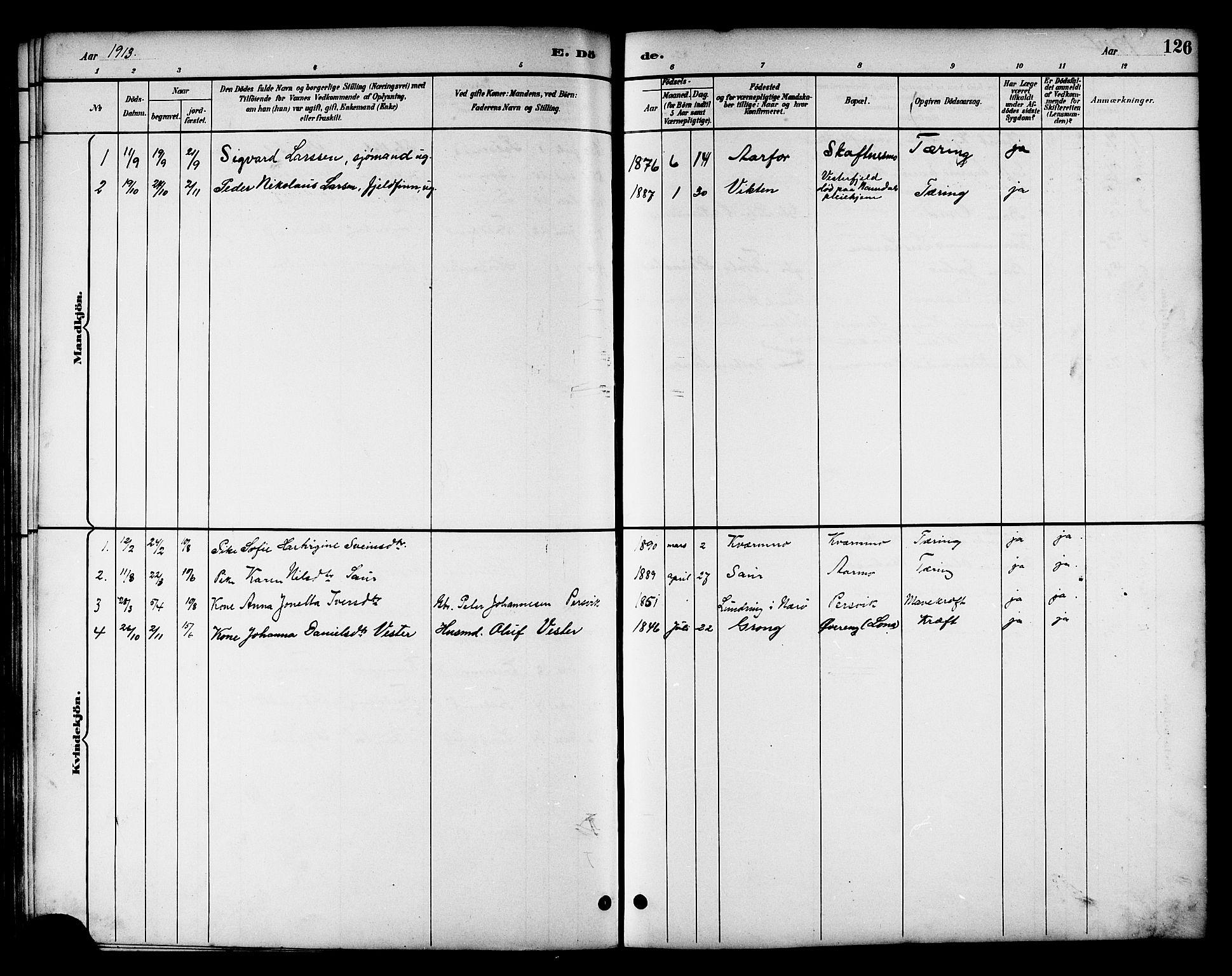 SAT, Ministerialprotokoller, klokkerbøker og fødselsregistre - Nord-Trøndelag, 783/L0662: Klokkerbok nr. 783C02, 1894-1919, s. 126