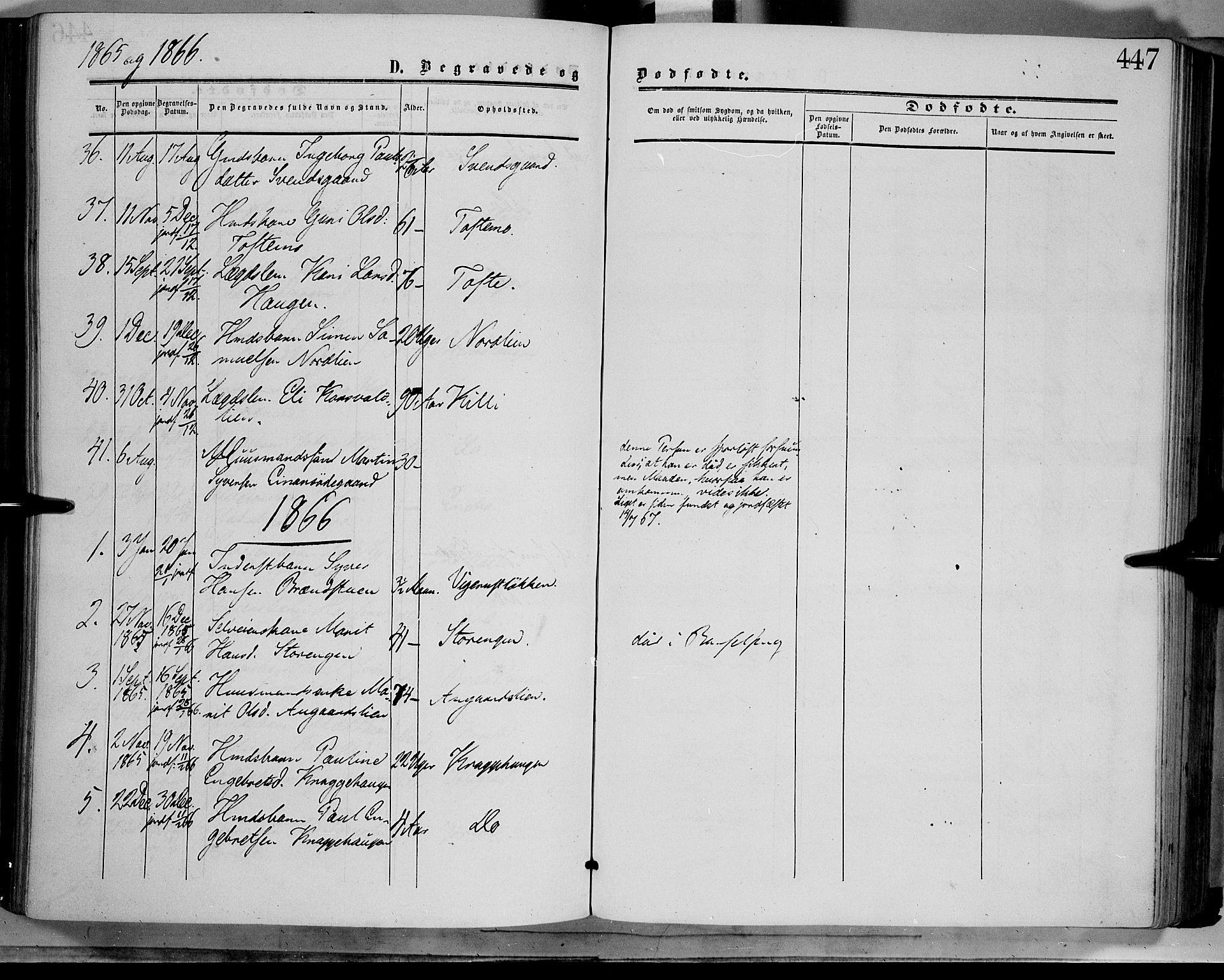 SAH, Dovre prestekontor, Ministerialbok nr. 1, 1854-1878, s. 447