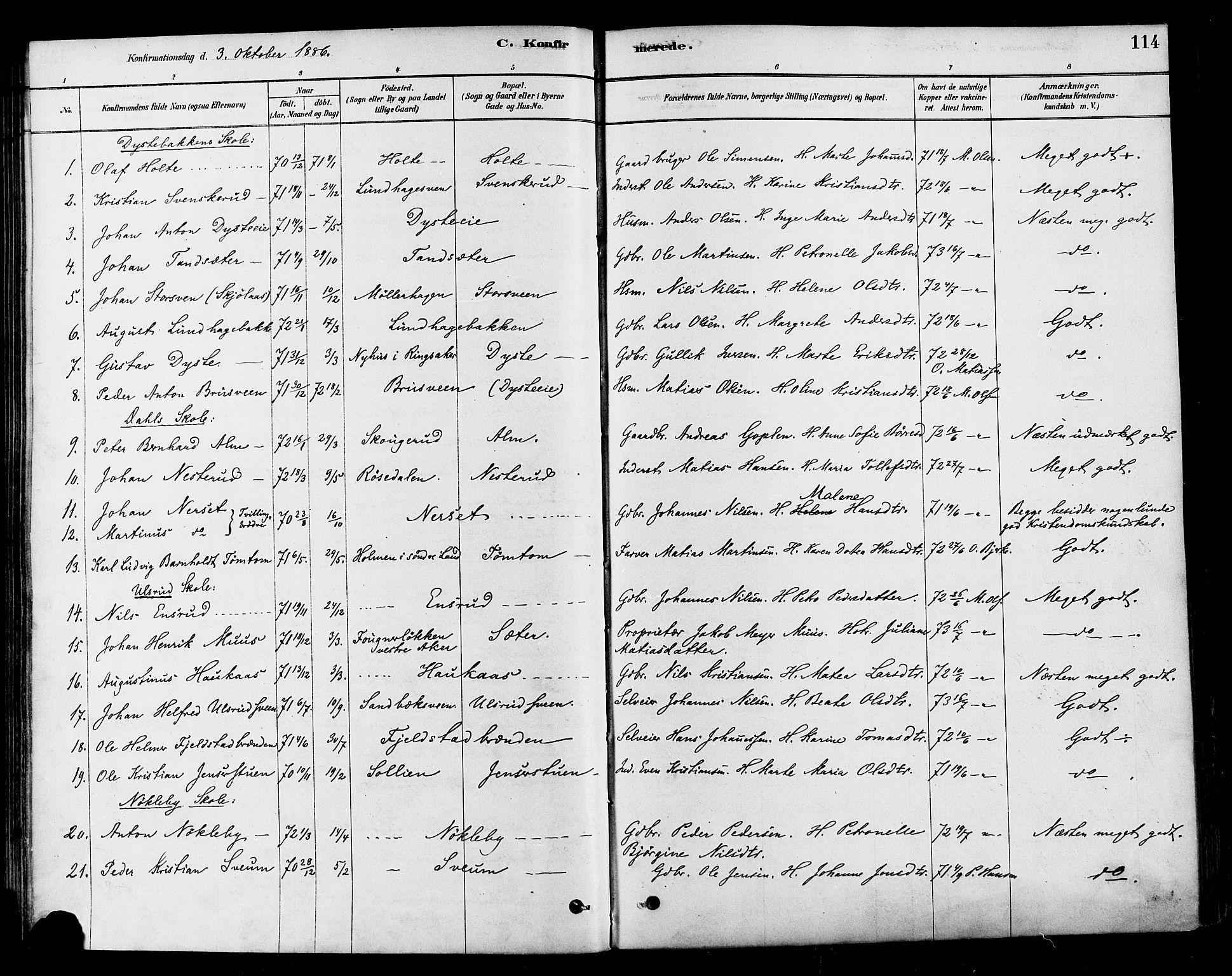 SAH, Vestre Toten prestekontor, Ministerialbok nr. 10, 1878-1894, s. 114