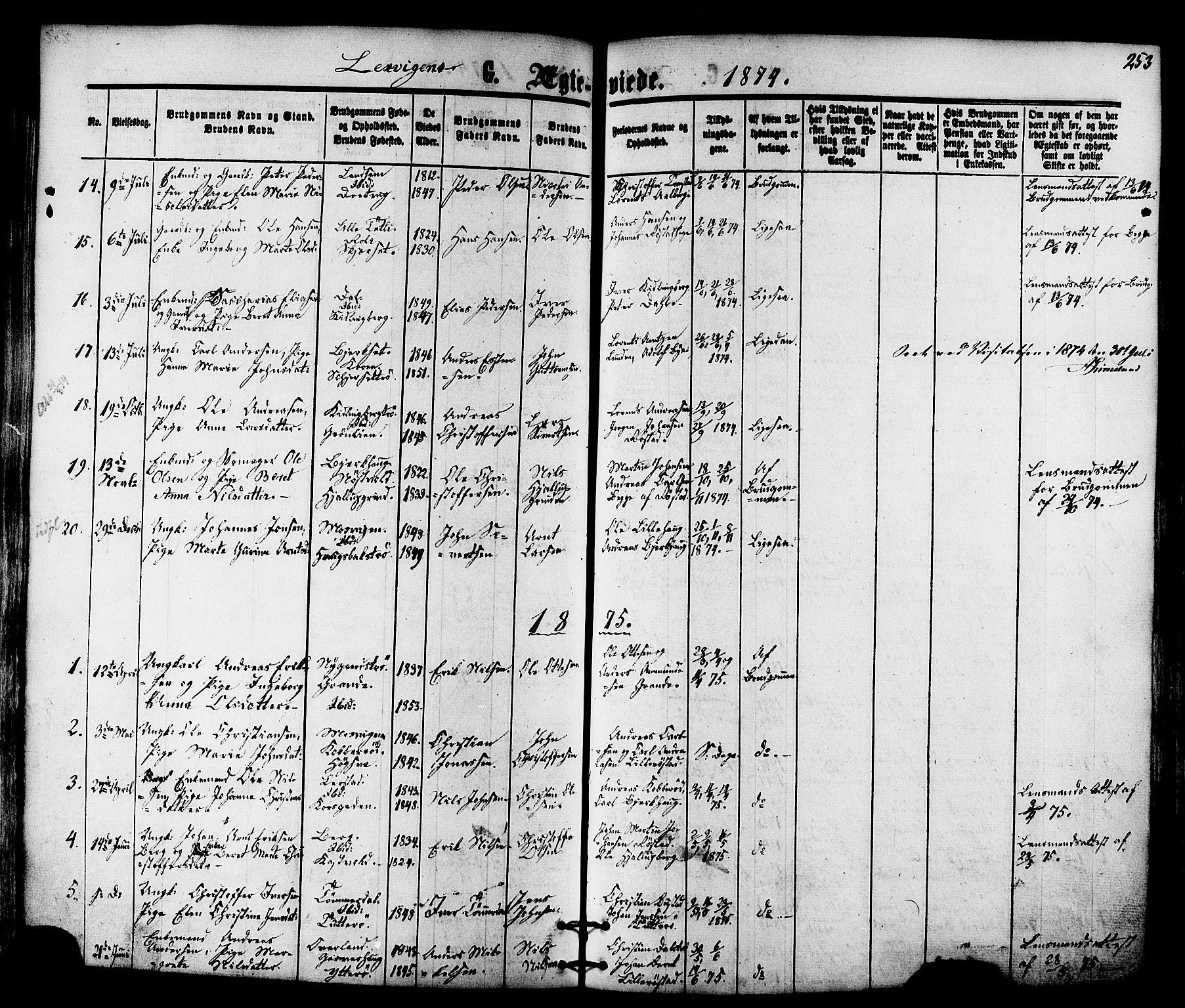 SAT, Ministerialprotokoller, klokkerbøker og fødselsregistre - Nord-Trøndelag, 701/L0009: Ministerialbok nr. 701A09 /1, 1864-1882, s. 253