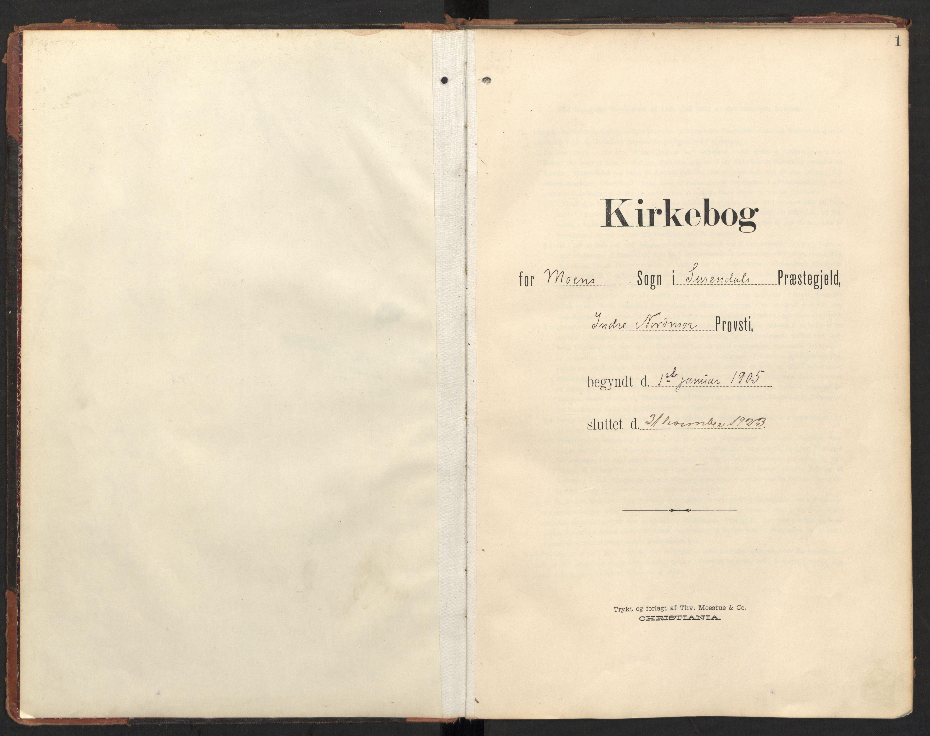 SAT, Ministerialprotokoller, klokkerbøker og fødselsregistre - Møre og Romsdal, 597/L1063: Ministerialbok nr. 597A02, 1905-1923, s. 1