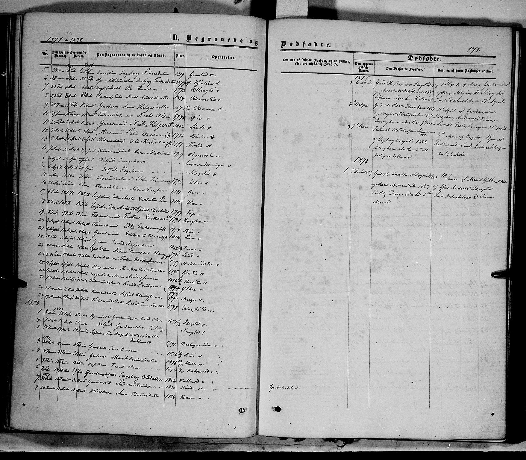 SAH, Vang prestekontor, Valdres, Ministerialbok nr. 7, 1865-1881, s. 171