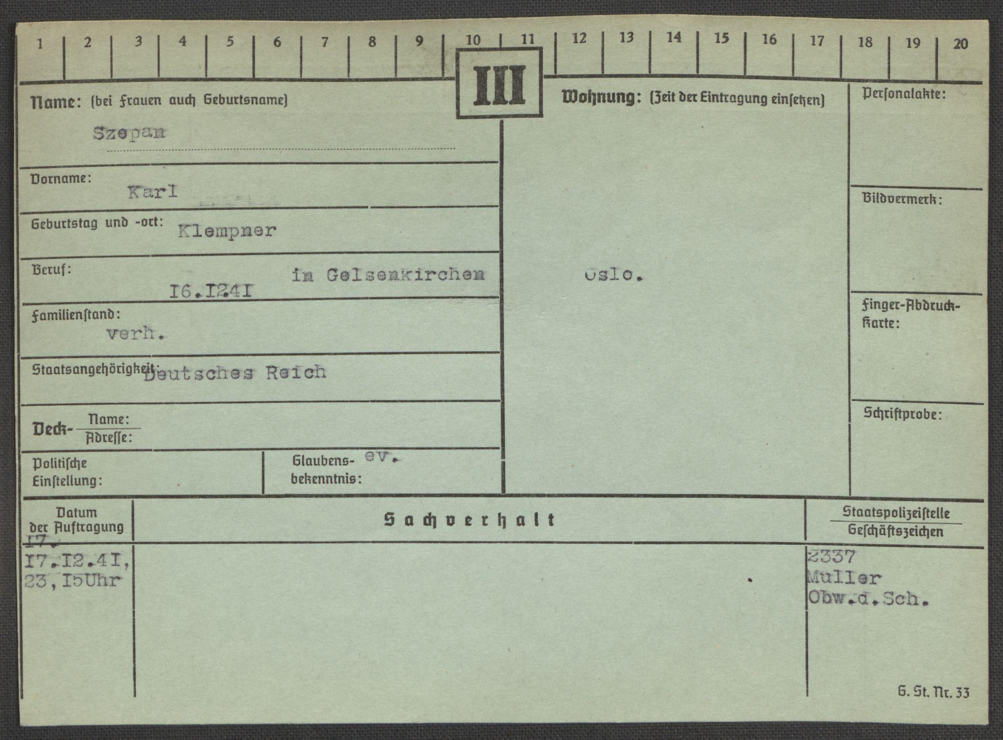 RA, Befehlshaber der Sicherheitspolizei und des SD, E/Ea/Eaa/L0009: Register over norske fanger i Møllergata 19: Ru-Sy, 1940-1945, s. 1656