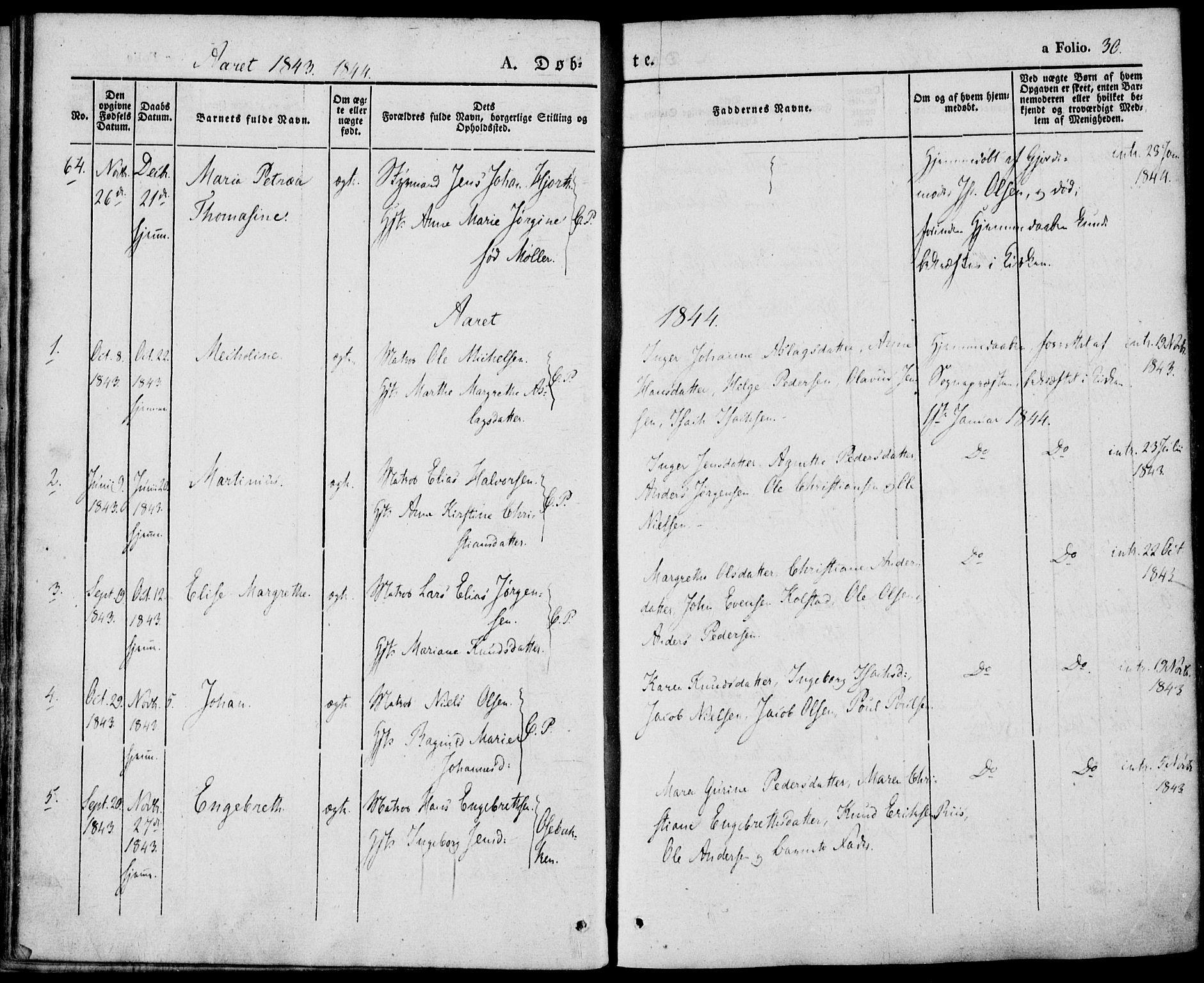 SAKO, Porsgrunn kirkebøker , F/Fa/L0006: Ministerialbok nr. 6, 1841-1857, s. 30