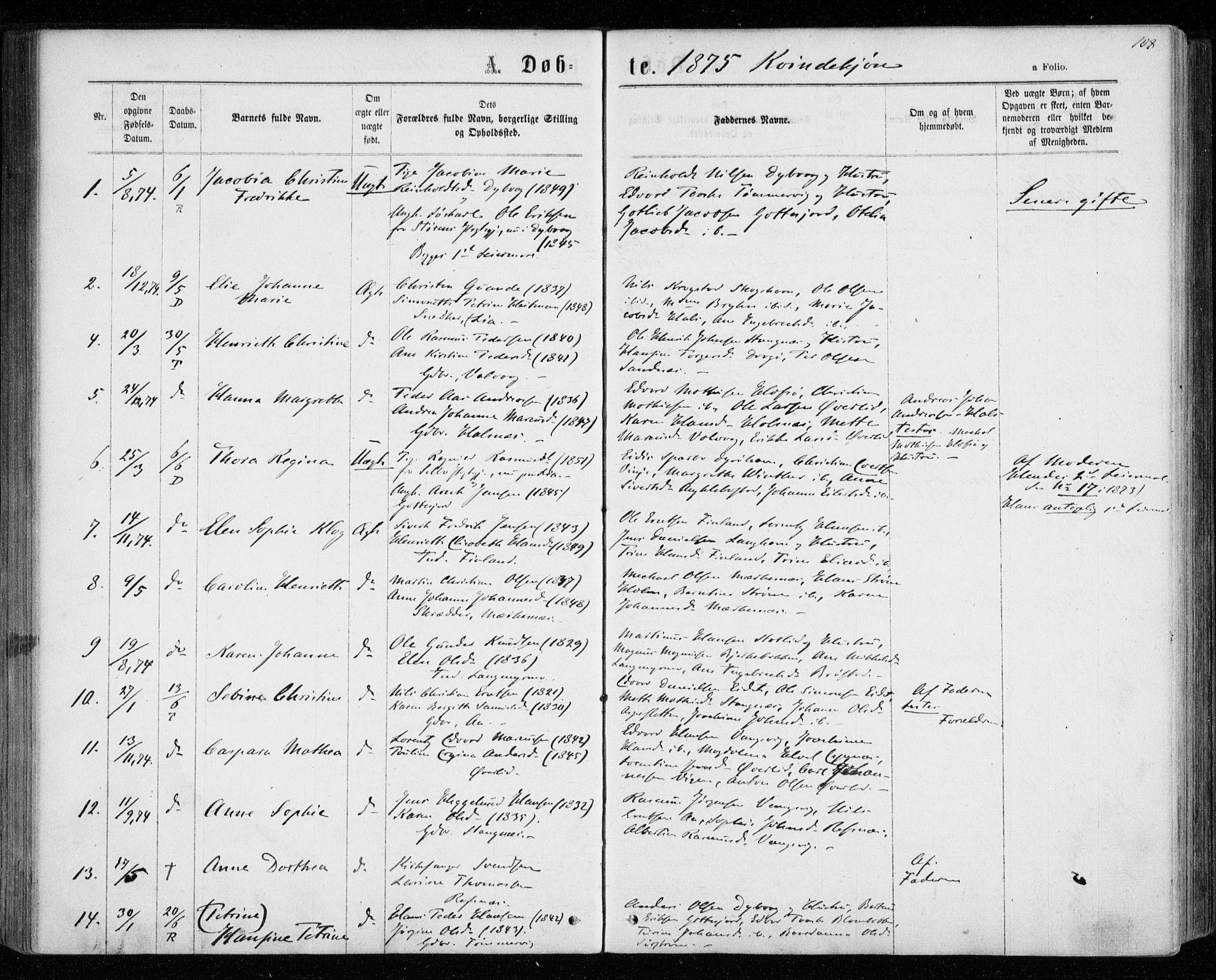 SATØ, Tranøy sokneprestkontor, I/Ia/Iaa/L0008kirke: Ministerialbok nr. 8, 1867-1877, s. 108