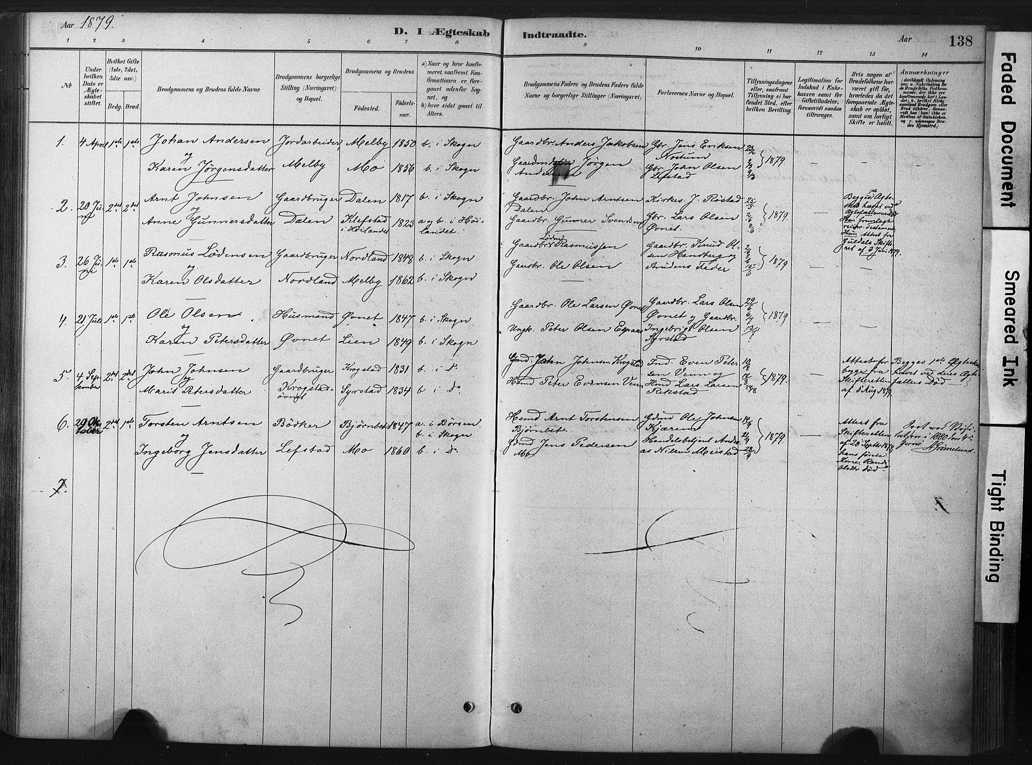 SAT, Ministerialprotokoller, klokkerbøker og fødselsregistre - Sør-Trøndelag, 667/L0795: Ministerialbok nr. 667A03, 1879-1907, s. 138