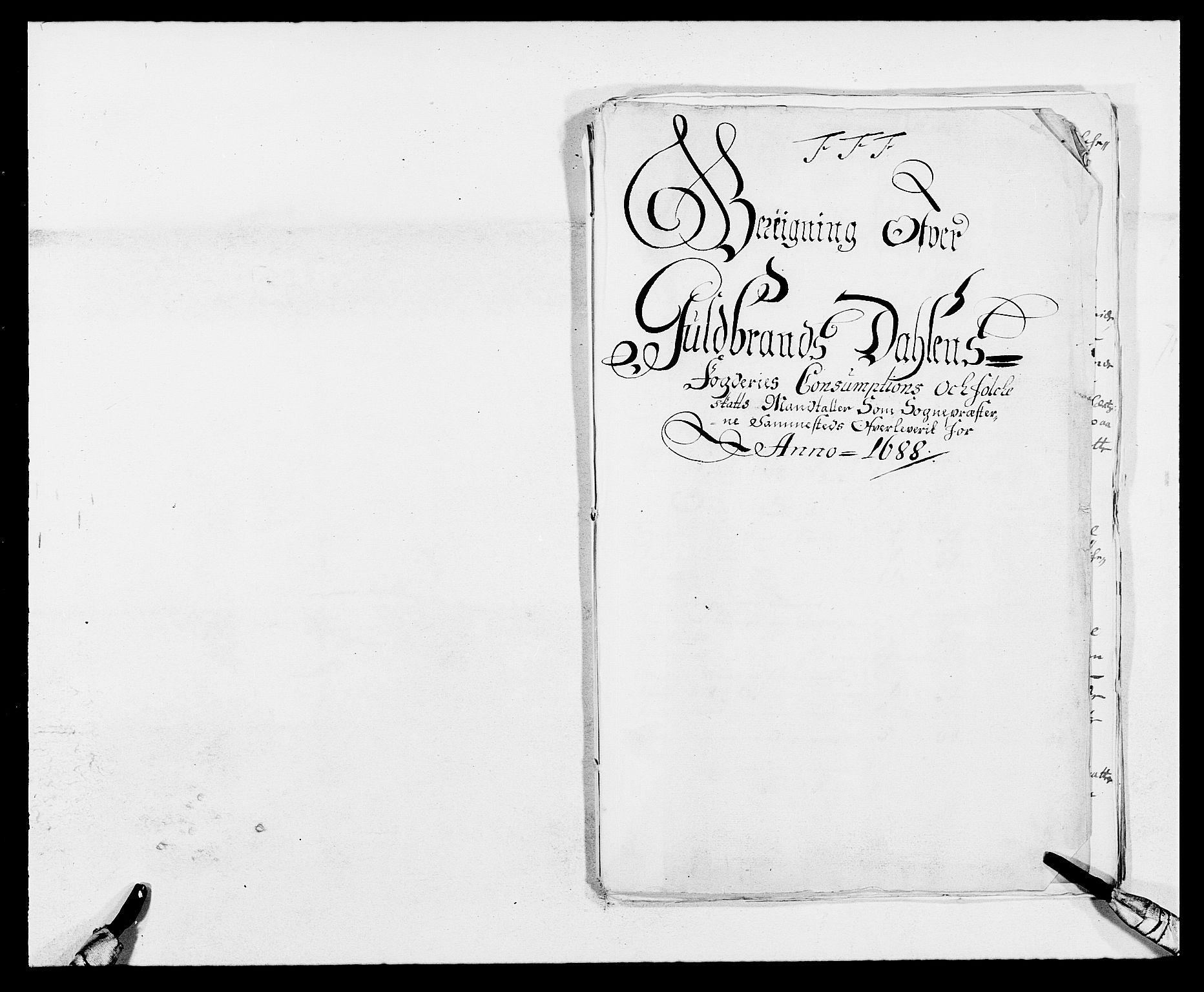 RA, Rentekammeret inntil 1814, Reviderte regnskaper, Fogderegnskap, R17/L1163: Fogderegnskap Gudbrandsdal, 1682-1689, s. 274