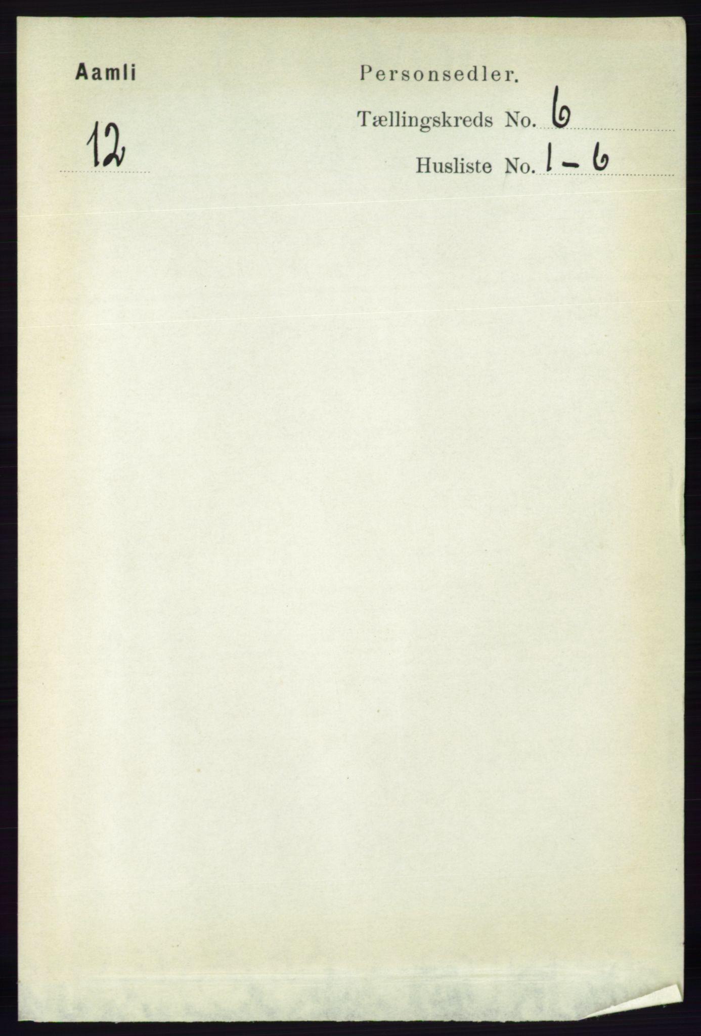 RA, Folketelling 1891 for 0929 Åmli herred, 1891, s. 867