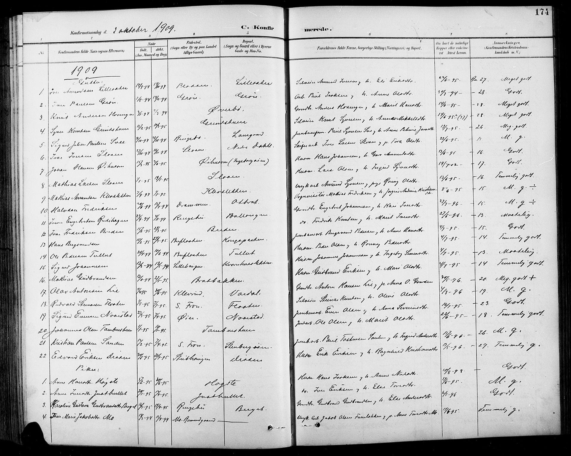 SAH, Sel prestekontor, Klokkerbok nr. 1, 1894-1923, s. 174
