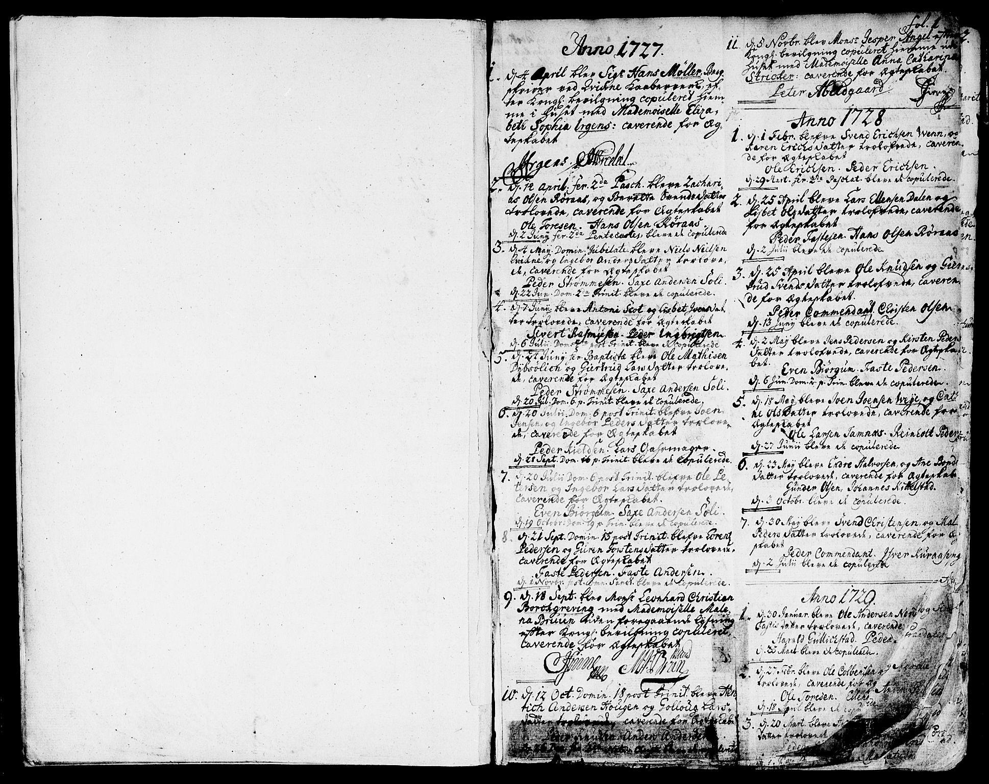 SAT, Ministerialprotokoller, klokkerbøker og fødselsregistre - Sør-Trøndelag, 681/L0925: Ministerialbok nr. 681A03, 1727-1766, s. 1