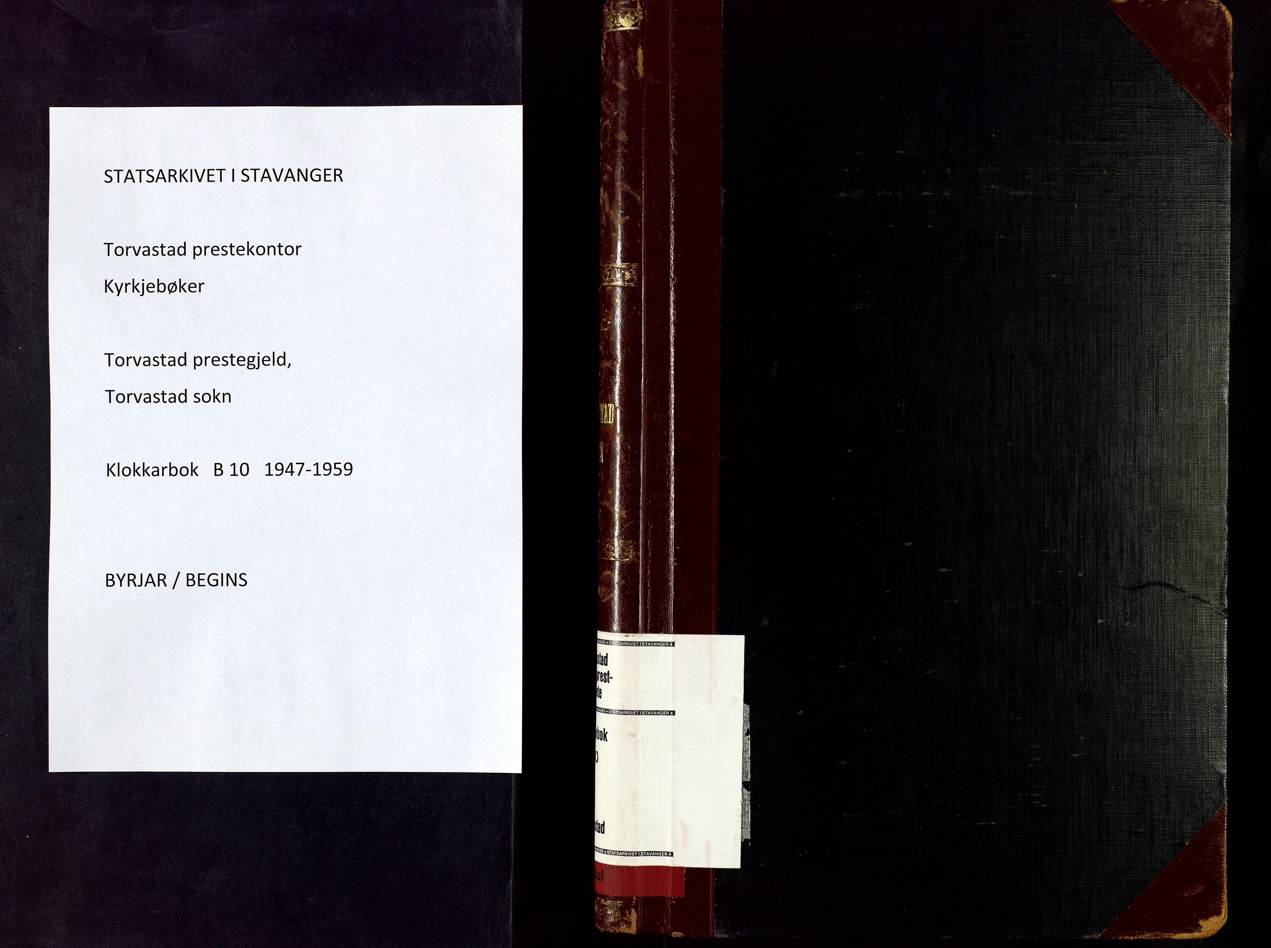 SAST, Torvastad sokneprestkontor, H/Ha/Hab/L0010: Klokkerbok nr. B 10, 1947-1959