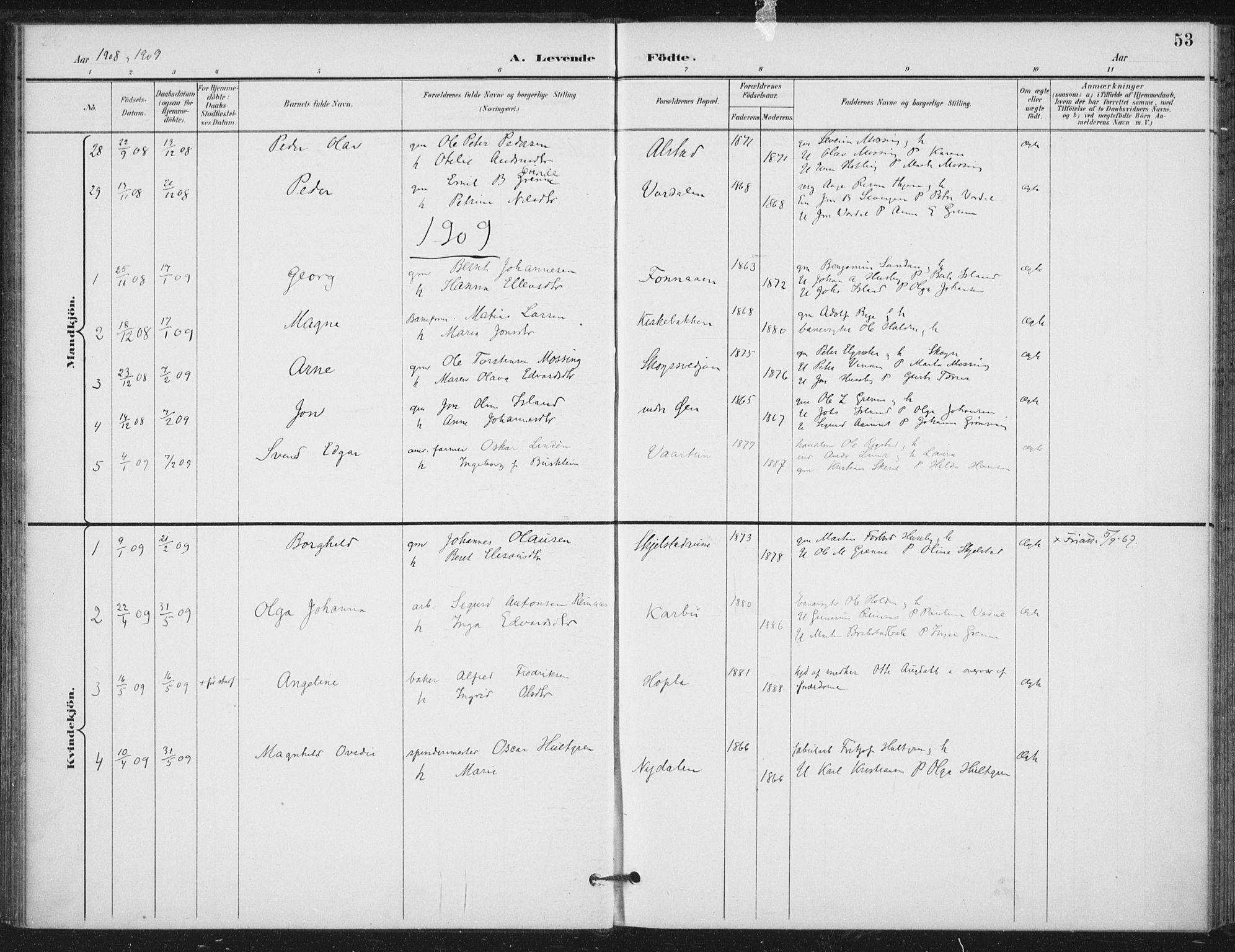 SAT, Ministerialprotokoller, klokkerbøker og fødselsregistre - Nord-Trøndelag, 714/L0131: Ministerialbok nr. 714A02, 1896-1918, s. 53