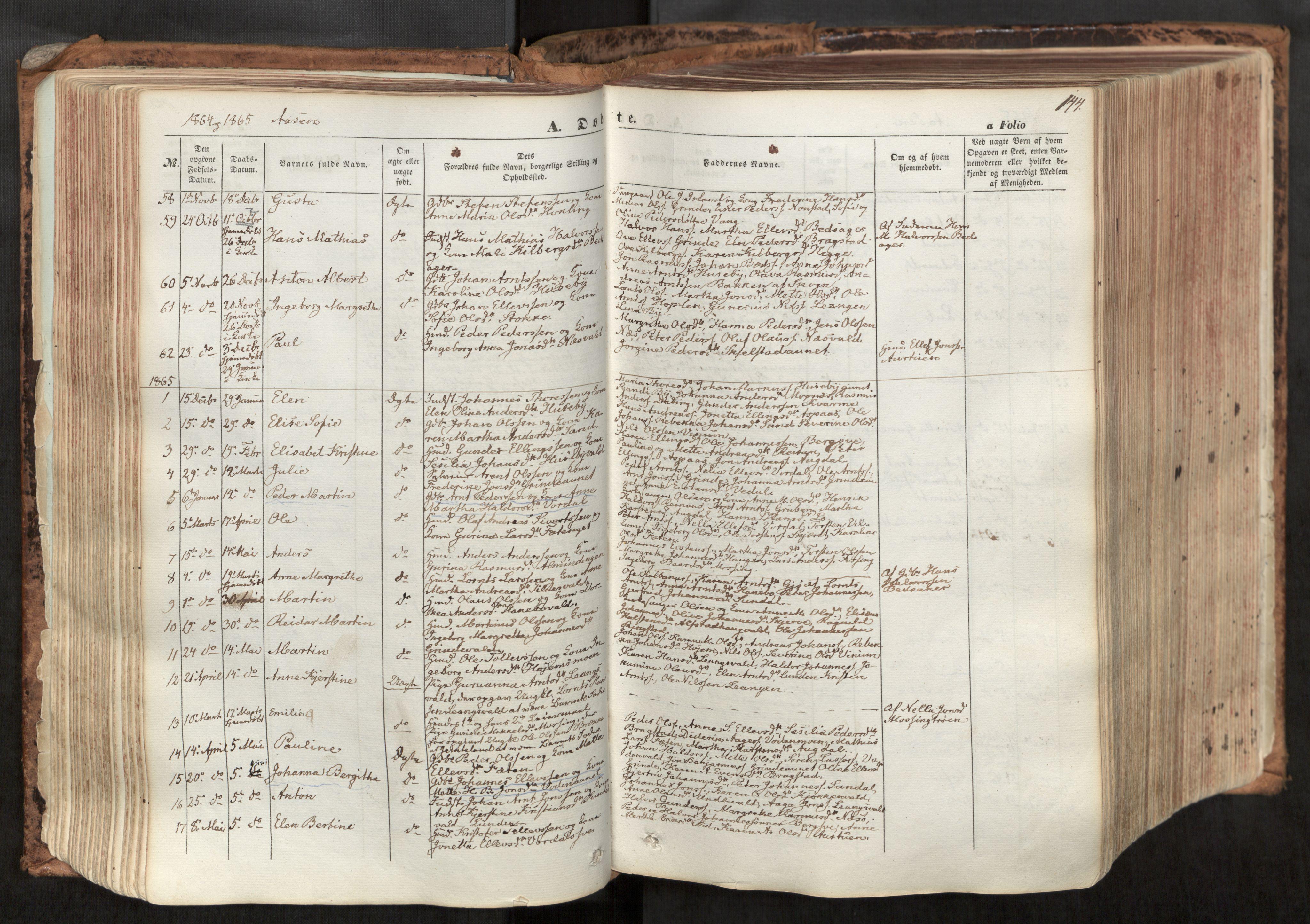 SAT, Ministerialprotokoller, klokkerbøker og fødselsregistre - Nord-Trøndelag, 713/L0116: Ministerialbok nr. 713A07, 1850-1877, s. 144