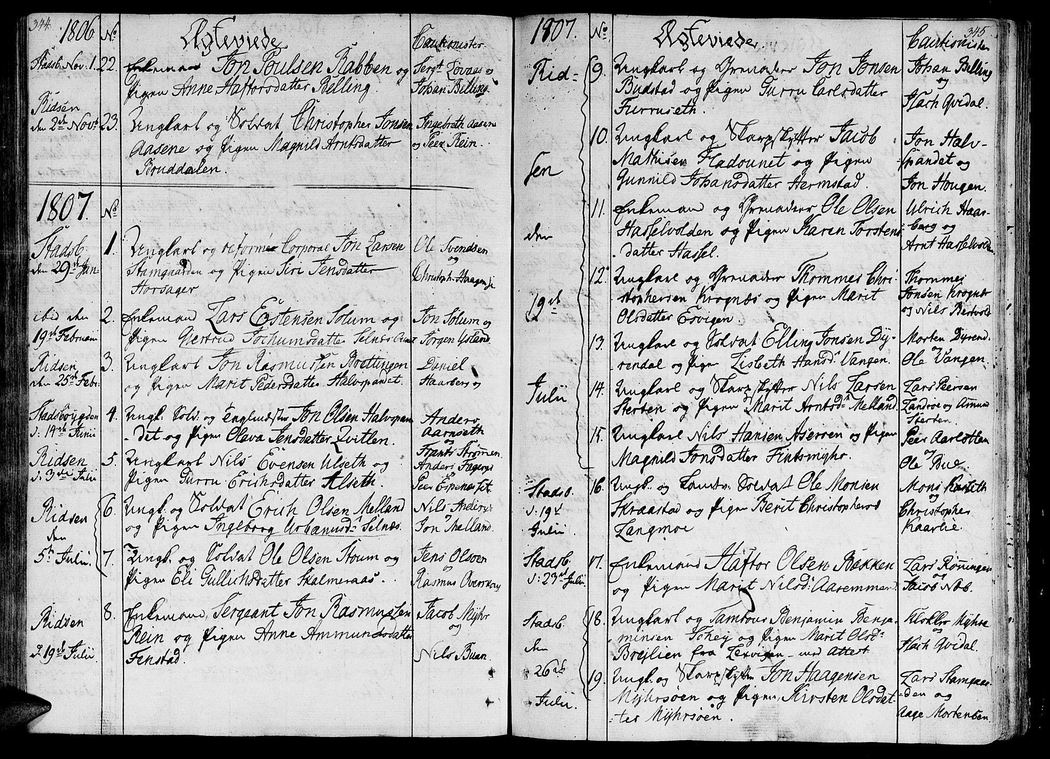 SAT, Ministerialprotokoller, klokkerbøker og fødselsregistre - Sør-Trøndelag, 646/L0607: Ministerialbok nr. 646A05, 1806-1815, s. 344-345