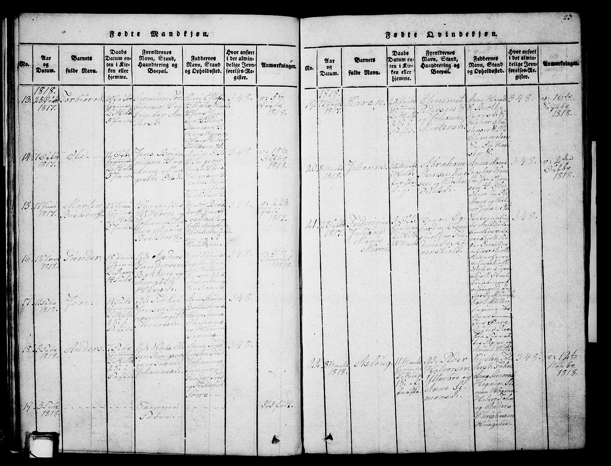 SAKO, Holla kirkebøker, G/Ga/L0001: Klokkerbok nr. I 1, 1814-1830, s. 23