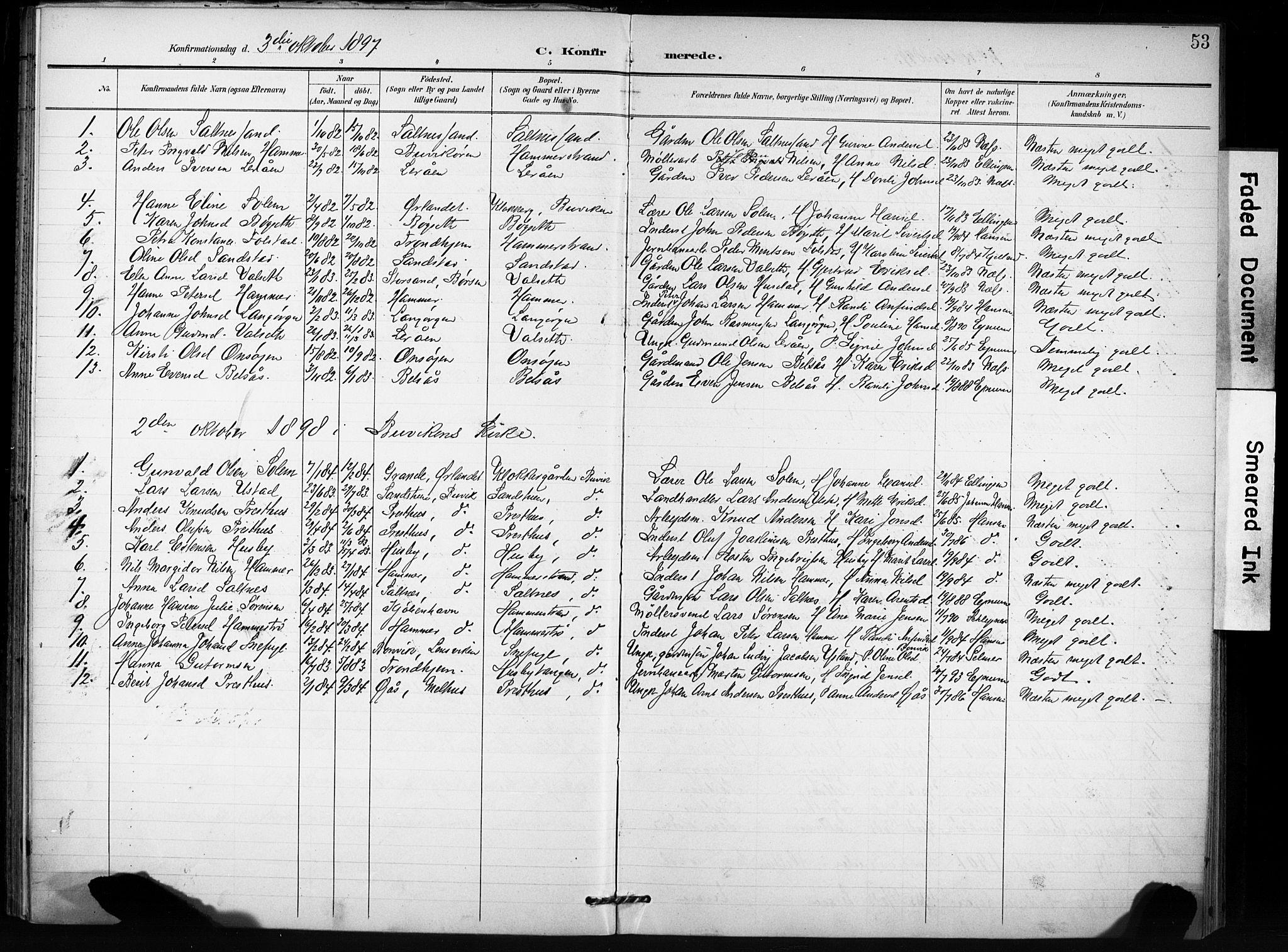 SAT, Ministerialprotokoller, klokkerbøker og fødselsregistre - Sør-Trøndelag, 666/L0787: Ministerialbok nr. 666A05, 1895-1908, s. 53