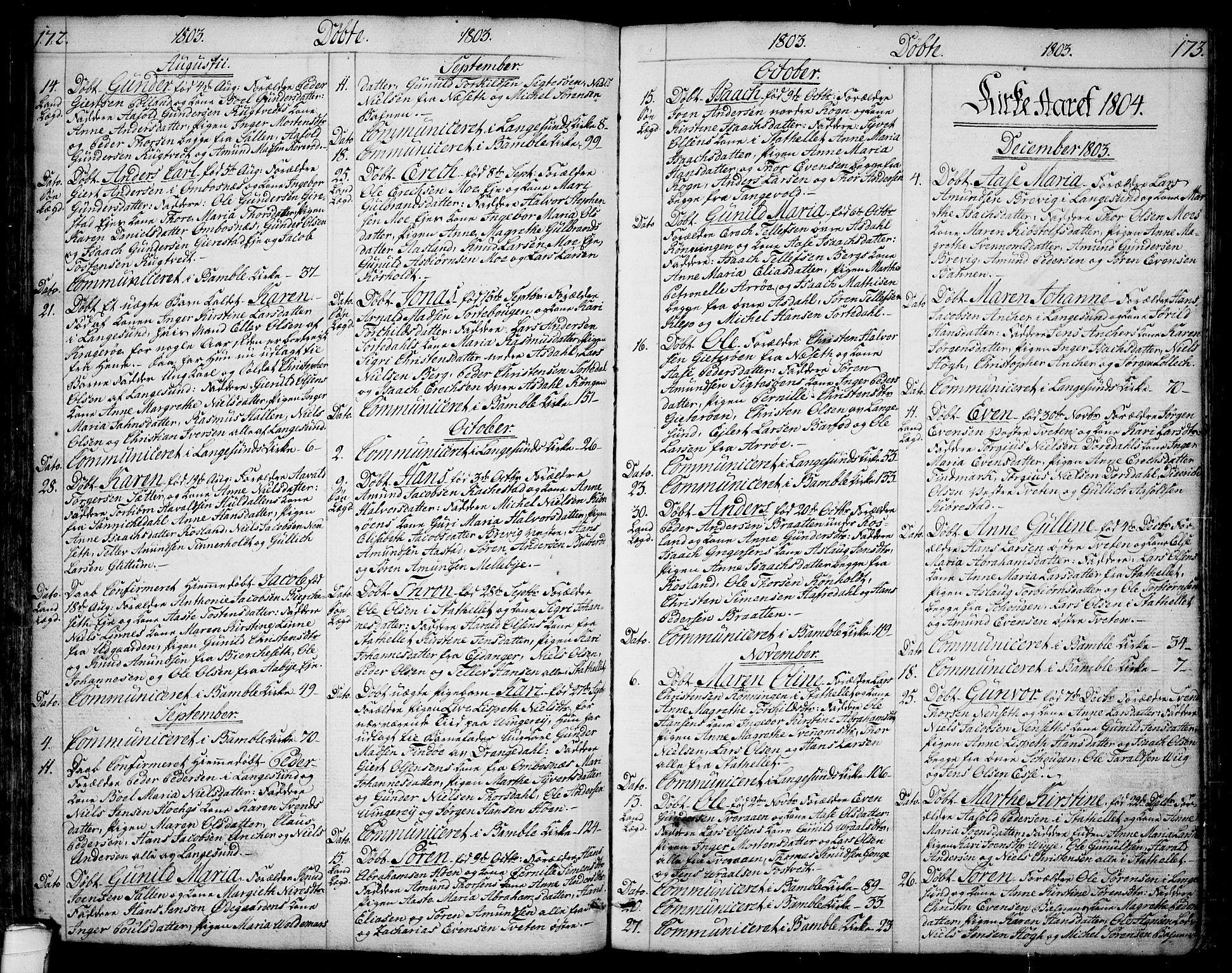 SAKO, Bamble kirkebøker, F/Fa/L0002: Ministerialbok nr. I 2, 1775-1814, s. 172-173
