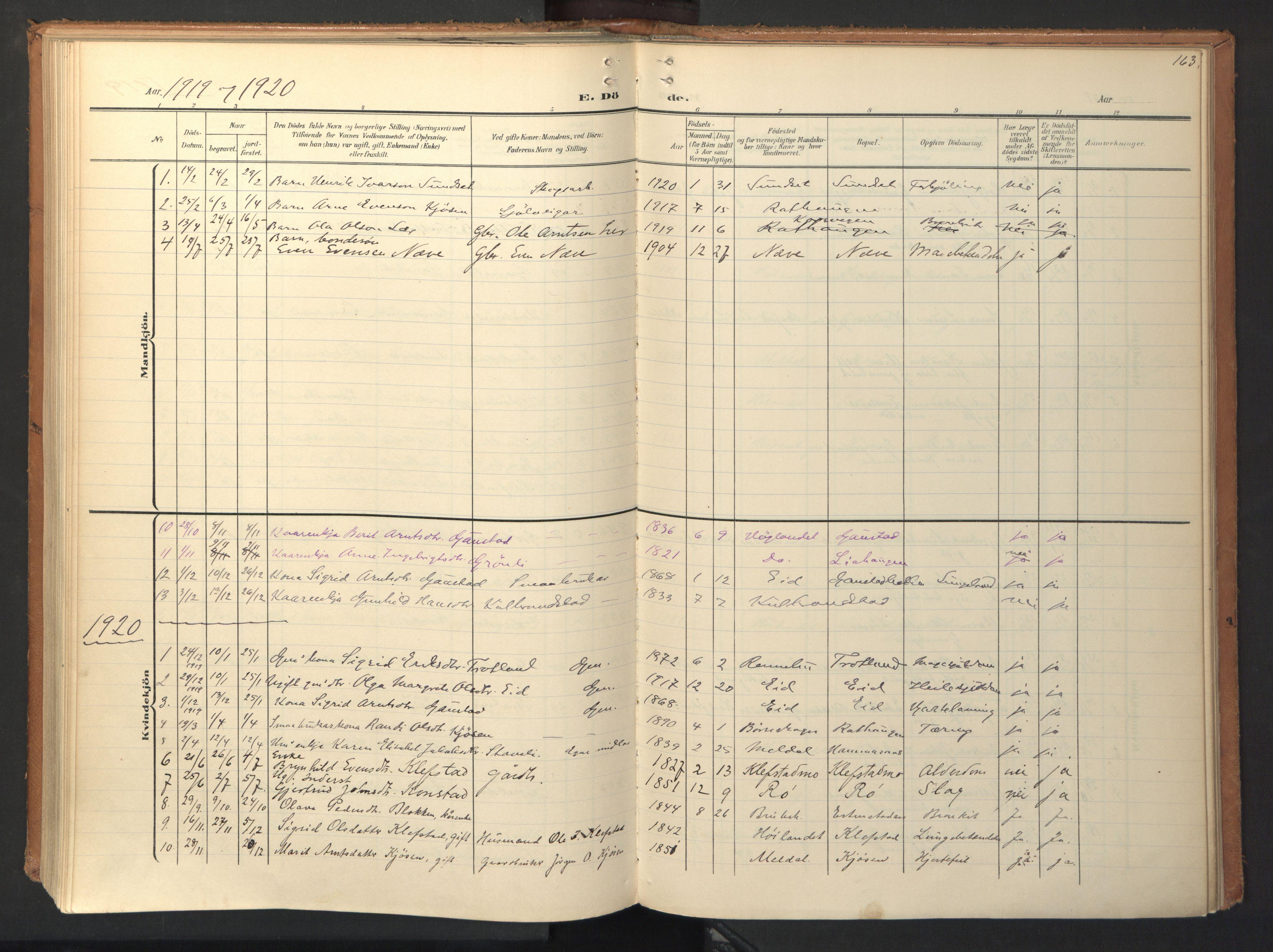 SAT, Ministerialprotokoller, klokkerbøker og fødselsregistre - Sør-Trøndelag, 694/L1128: Ministerialbok nr. 694A02, 1906-1931, s. 163