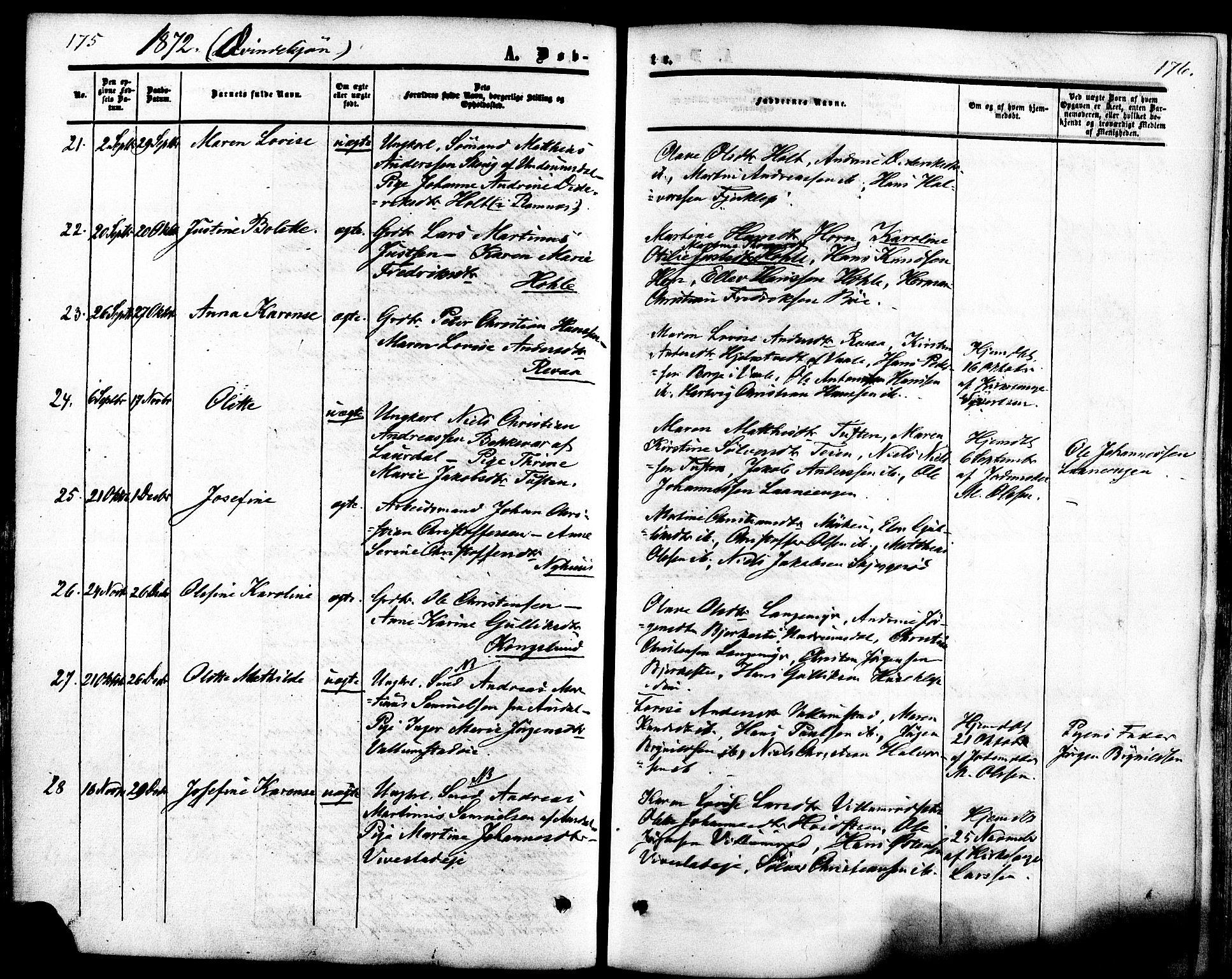 SAKO, Ramnes kirkebøker, F/Fa/L0006: Ministerialbok nr. I 6, 1862-1877, s. 175-176
