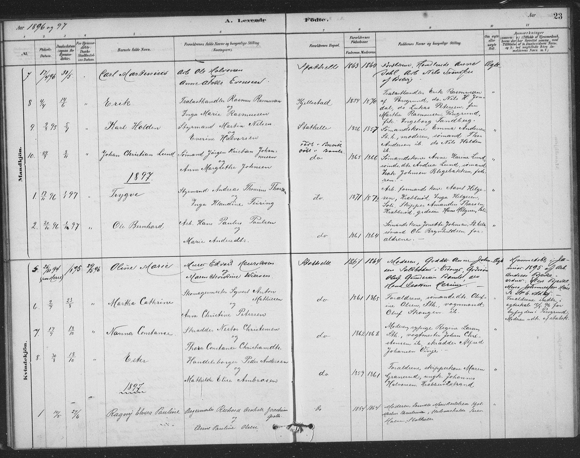 SAKO, Bamble kirkebøker, F/Fb/L0001: Ministerialbok nr. II 1, 1878-1899, s. 23