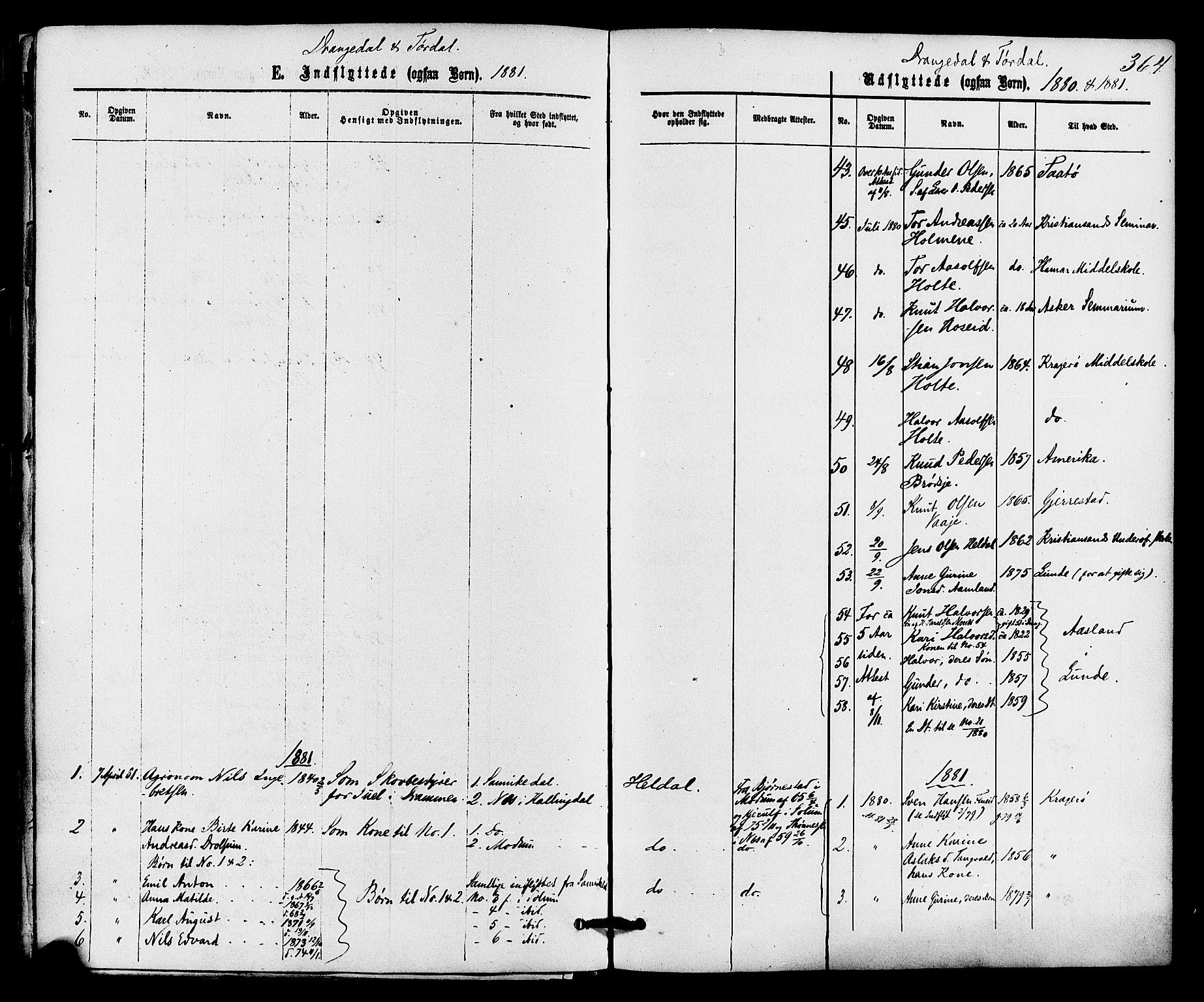 SAKO, Drangedal kirkebøker, F/Fa/L0009: Ministerialbok nr. 9 /1, 1872-1884, s. 364