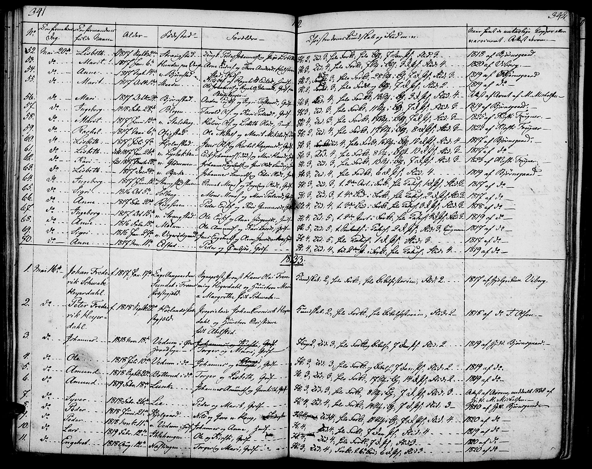 SAH, Øyer prestekontor, Ministerialbok nr. 4, 1824-1841, s. 341-342