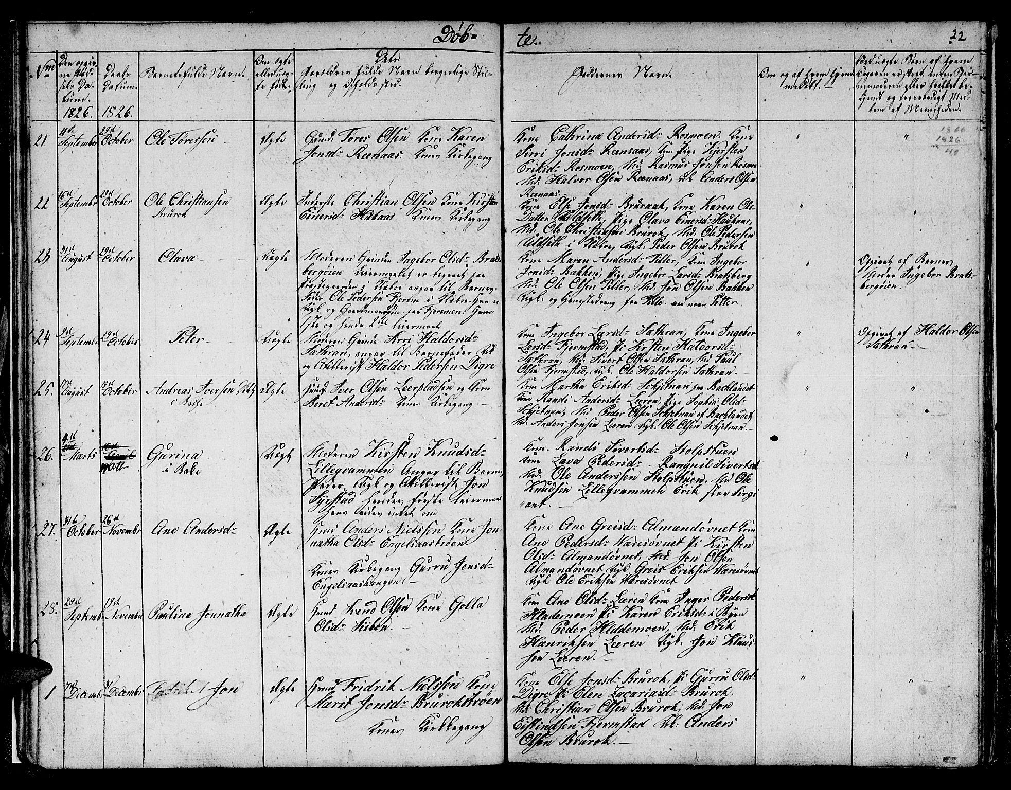 SAT, Ministerialprotokoller, klokkerbøker og fødselsregistre - Sør-Trøndelag, 608/L0337: Klokkerbok nr. 608C03, 1821-1831, s. 22