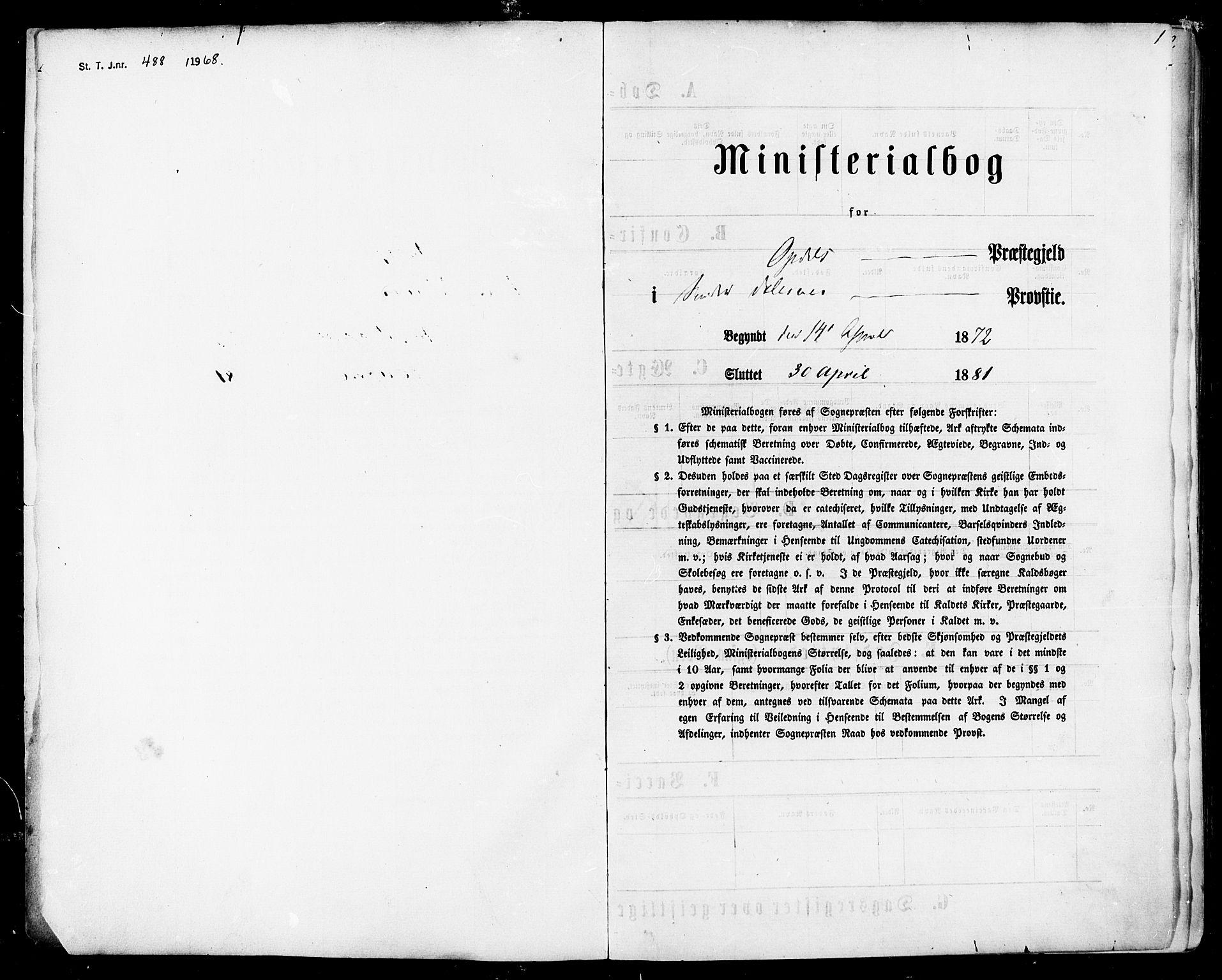 SAT, Ministerialprotokoller, klokkerbøker og fødselsregistre - Sør-Trøndelag, 678/L0900: Ministerialbok nr. 678A09, 1872-1881, s. 1