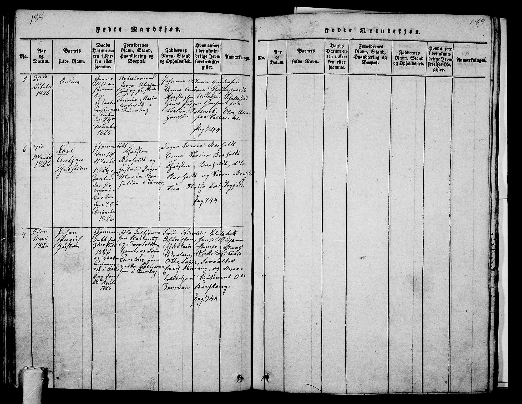 SAKO, Tønsberg kirkebøker, G/Ga/L0001: Klokkerbok nr. 1, 1813-1826, s. 188-189