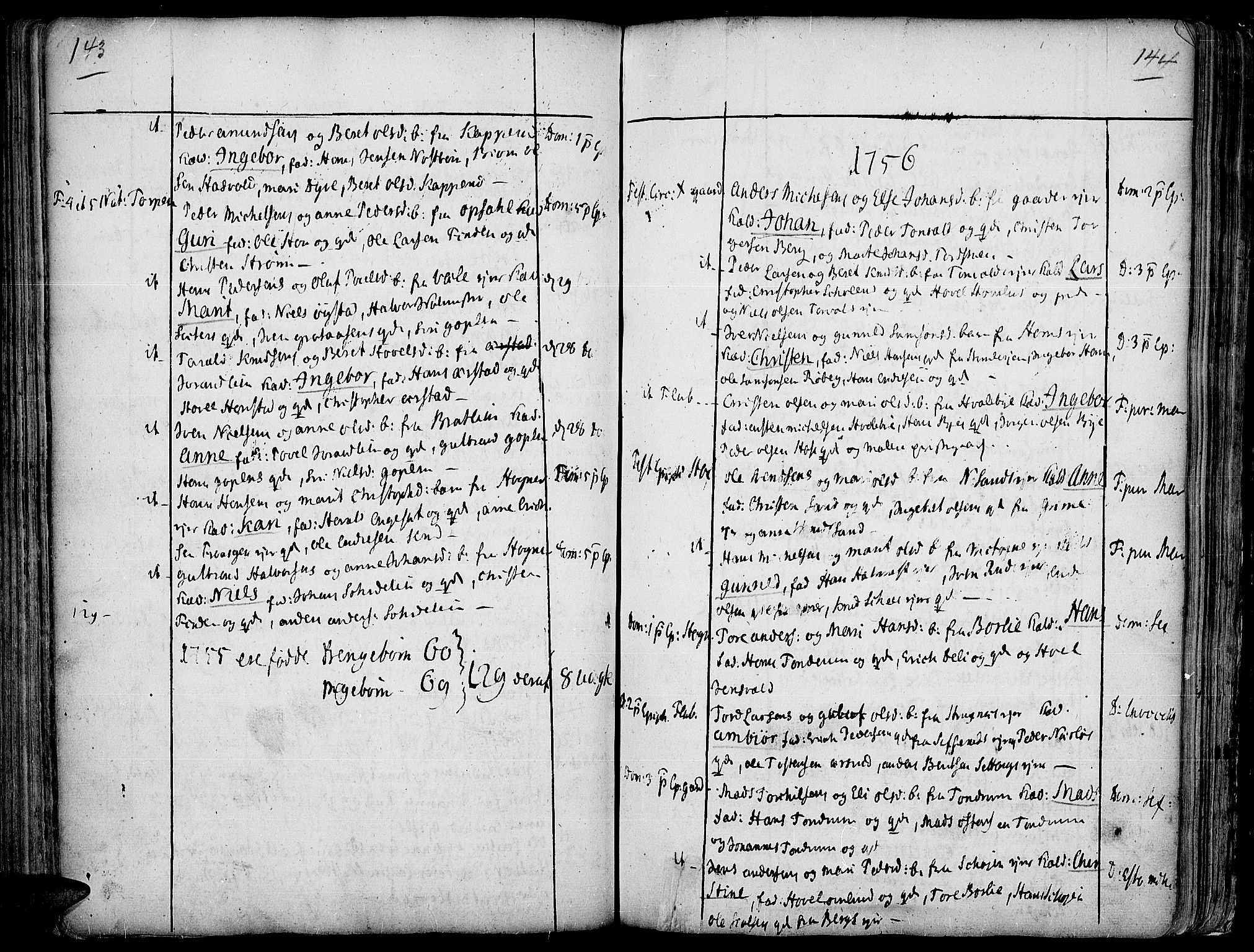 SAH, Land prestekontor, Ministerialbok nr. 2, 1733-1764, s. 143-144
