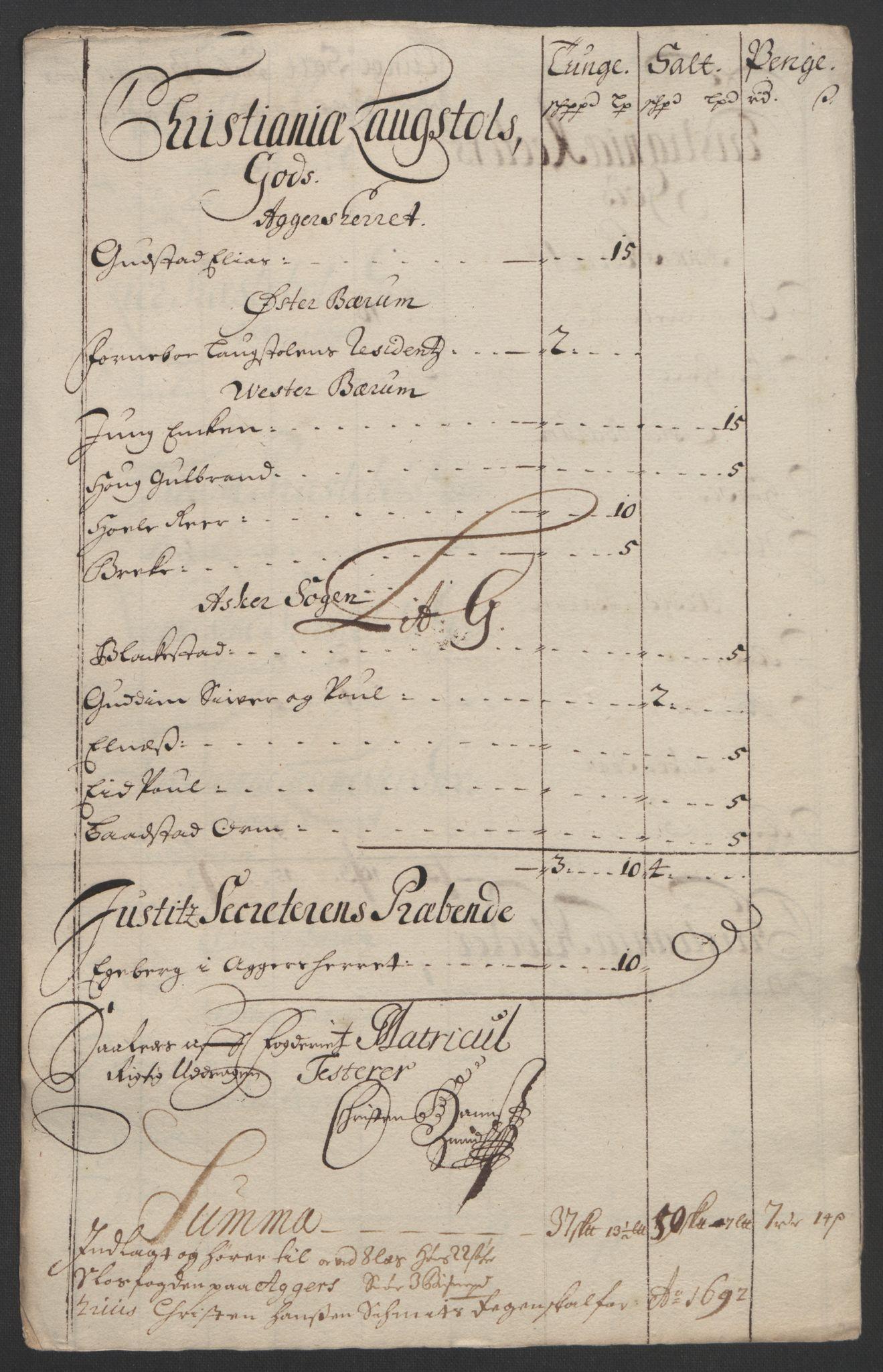 RA, Rentekammeret inntil 1814, Reviderte regnskaper, Fogderegnskap, R08/L0426: Fogderegnskap Aker, 1692-1693, s. 94