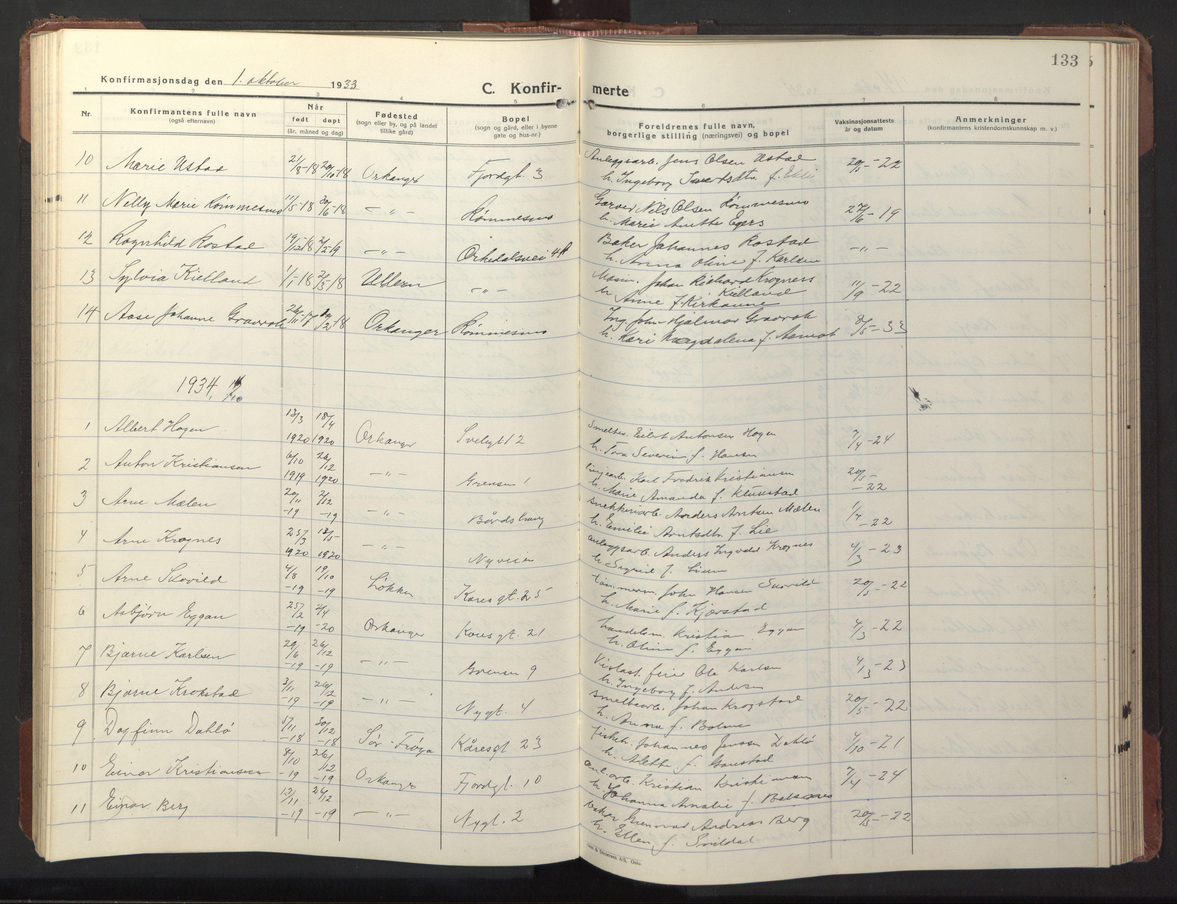 SAT, Ministerialprotokoller, klokkerbøker og fødselsregistre - Sør-Trøndelag, 669/L0832: Klokkerbok nr. 669C02, 1925-1953, s. 133