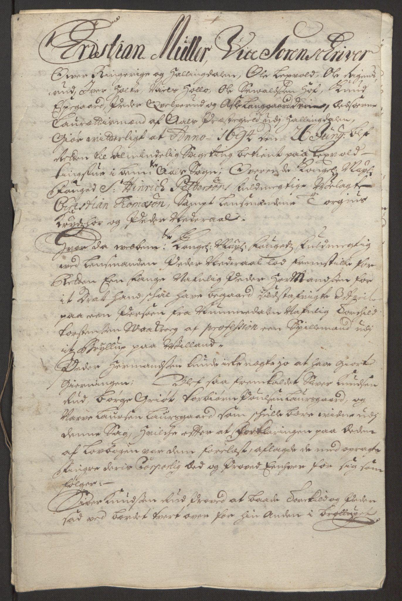 RA, Rentekammeret inntil 1814, Reviderte regnskaper, Fogderegnskap, R22/L1452: Fogderegnskap Ringerike, Hallingdal og Buskerud, 1695, s. 317