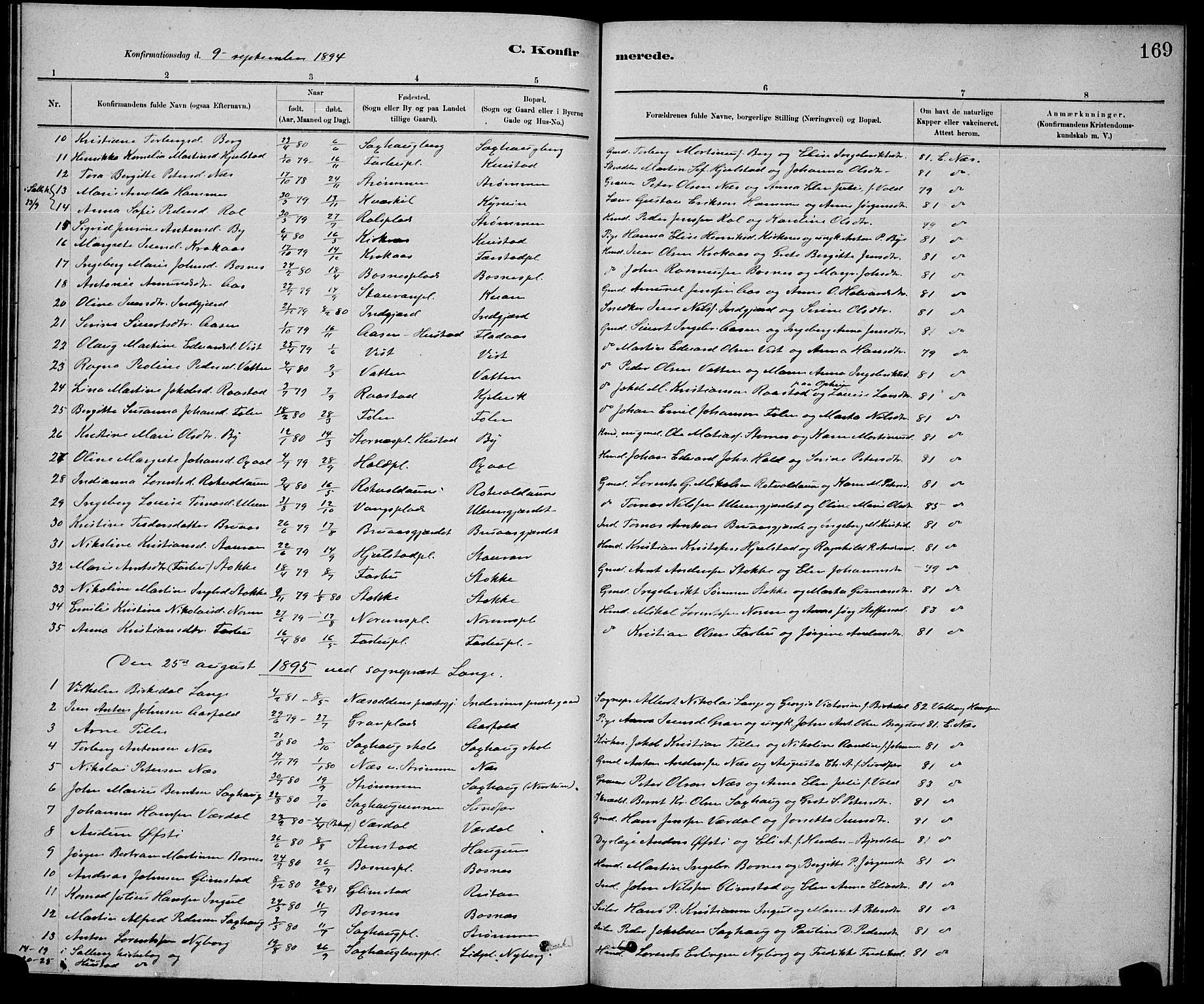 SAT, Ministerialprotokoller, klokkerbøker og fødselsregistre - Nord-Trøndelag, 730/L0301: Klokkerbok nr. 730C04, 1880-1897, s. 169