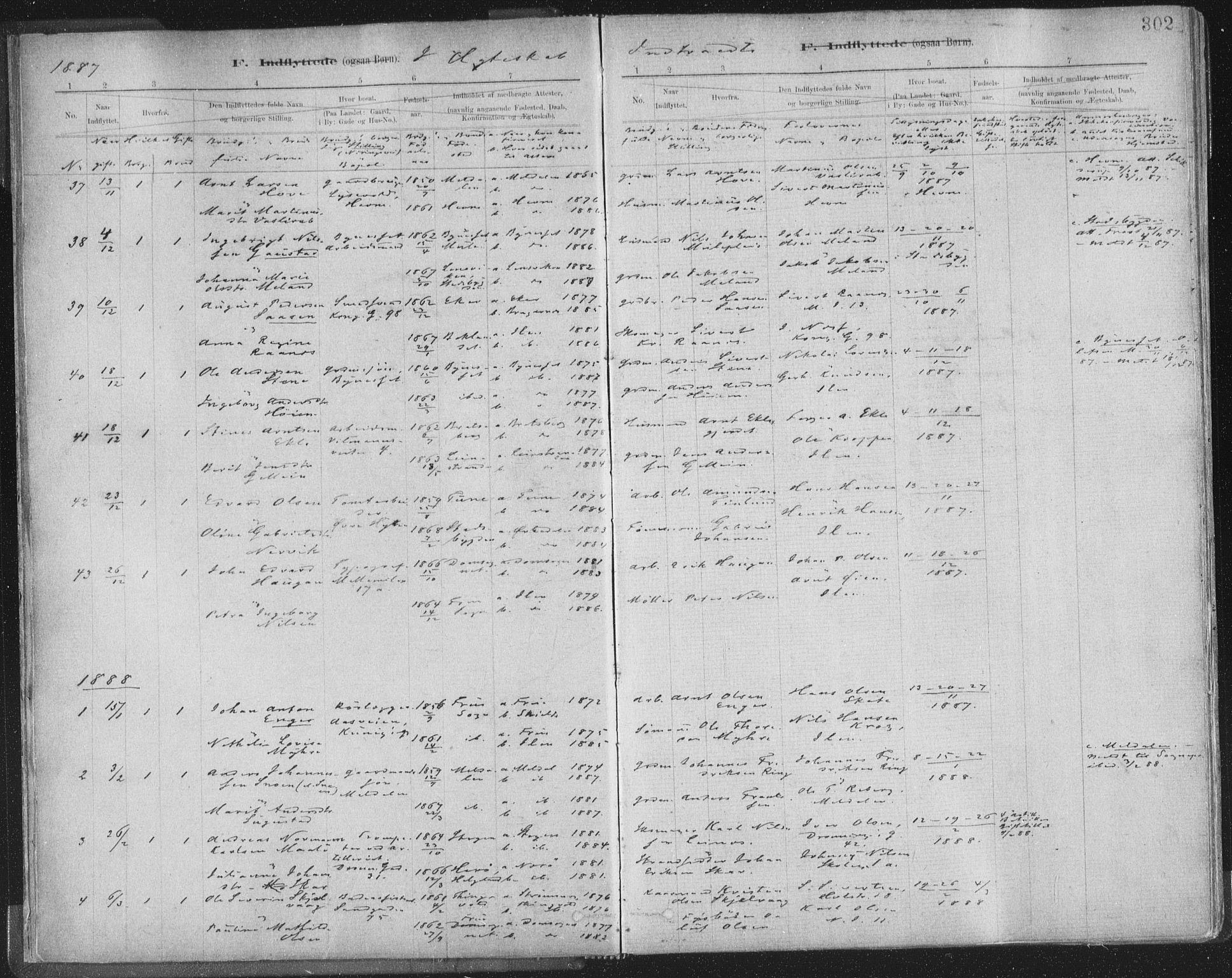 SAT, Ministerialprotokoller, klokkerbøker og fødselsregistre - Sør-Trøndelag, 603/L0163: Ministerialbok nr. 603A02, 1879-1895, s. 302