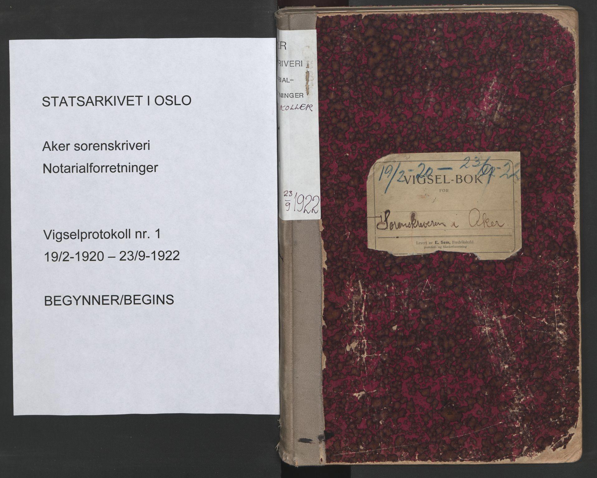 SAO, Aker sorenskriveri, L/Lc/Lcb/L0001: Vigselprotokoll, 1920-1922, s. upaginert