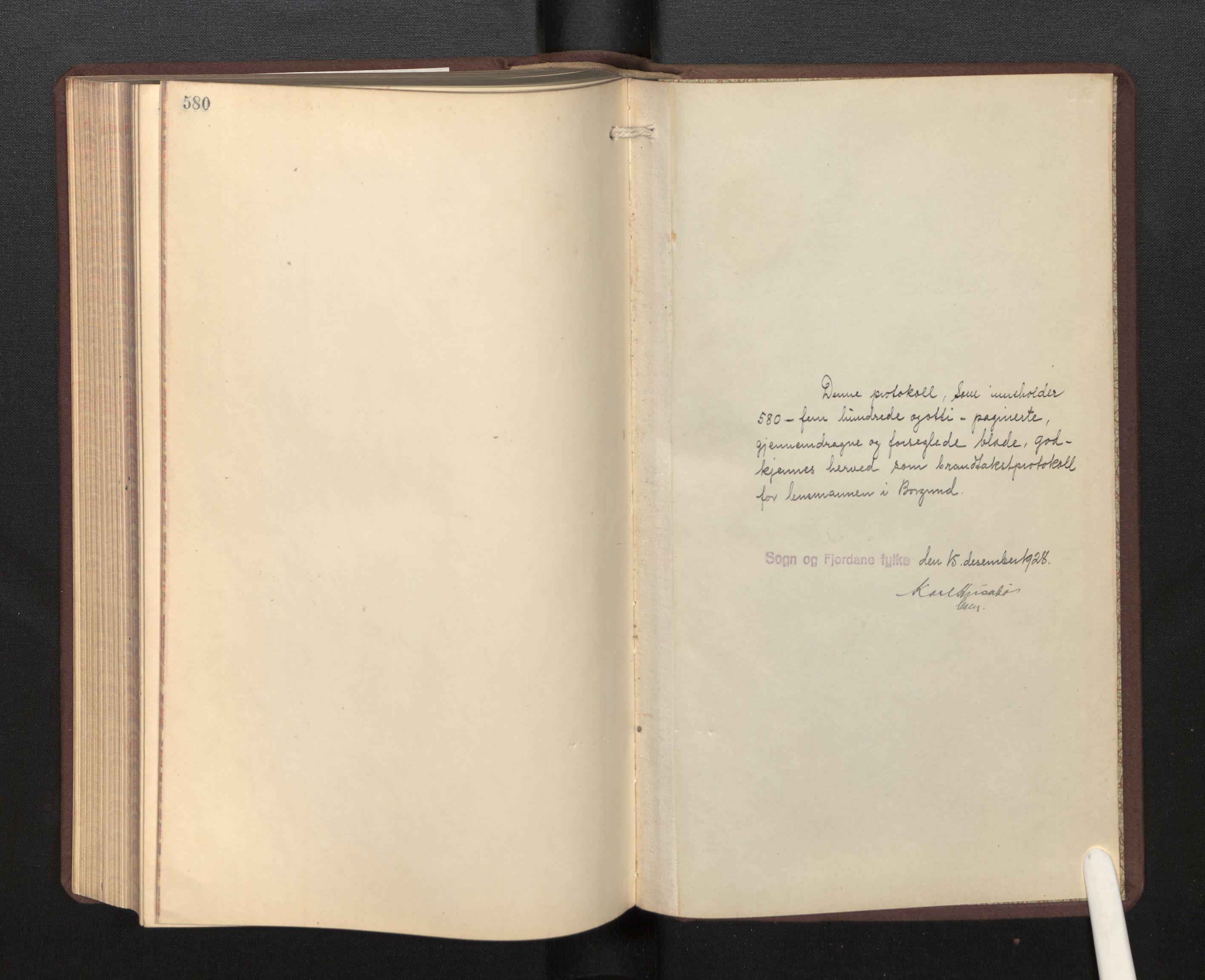 SAB, Lensmannen i Borgund, 0012/L0002: Branntakstprotokoll, 1929-1933, s. 580