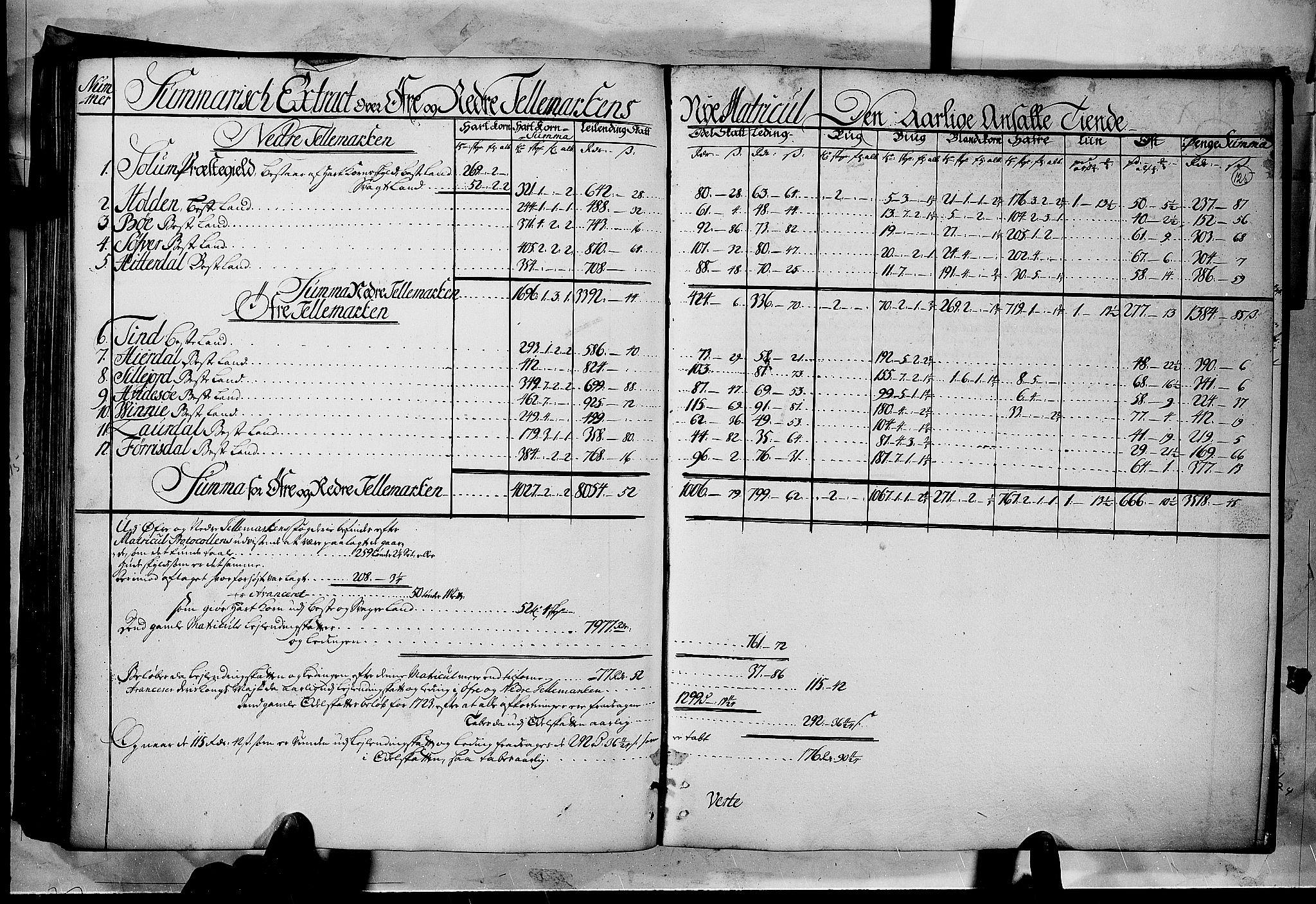 RA, Rentekammeret inntil 1814, Realistisk ordnet avdeling, N/Nb/Nbf/L0122: Øvre og Nedre Telemark matrikkelprotokoll, 1723, s. 124b-125a