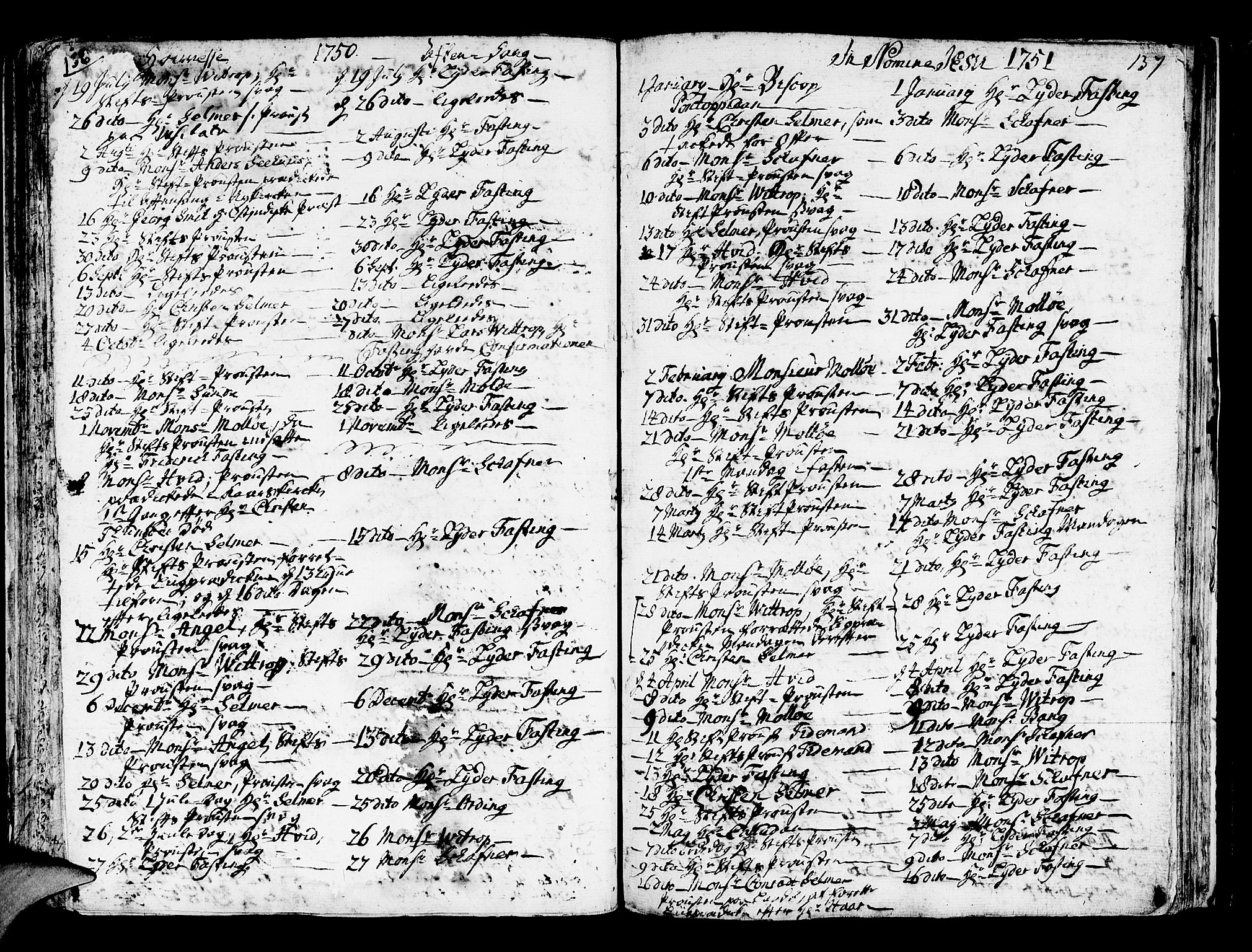 SAB, Domkirken sokneprestembete, H/Haa/L0007: Ministerialbok nr. A 7, 1725-1826, s. 136-137