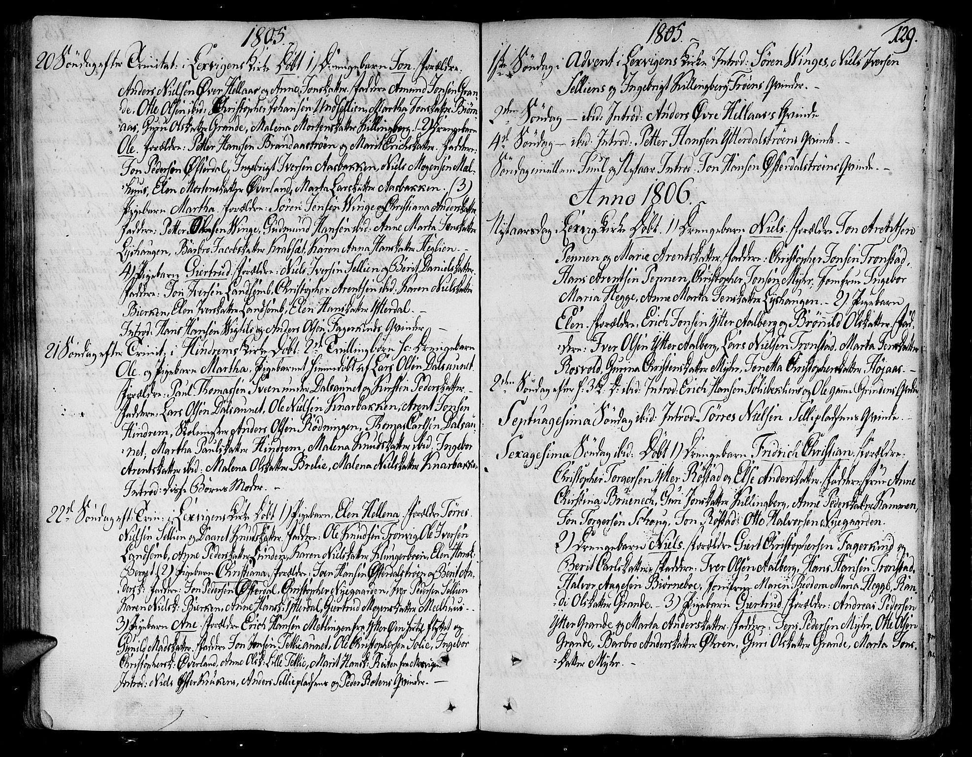 SAT, Ministerialprotokoller, klokkerbøker og fødselsregistre - Nord-Trøndelag, 701/L0004: Ministerialbok nr. 701A04, 1783-1816, s. 129