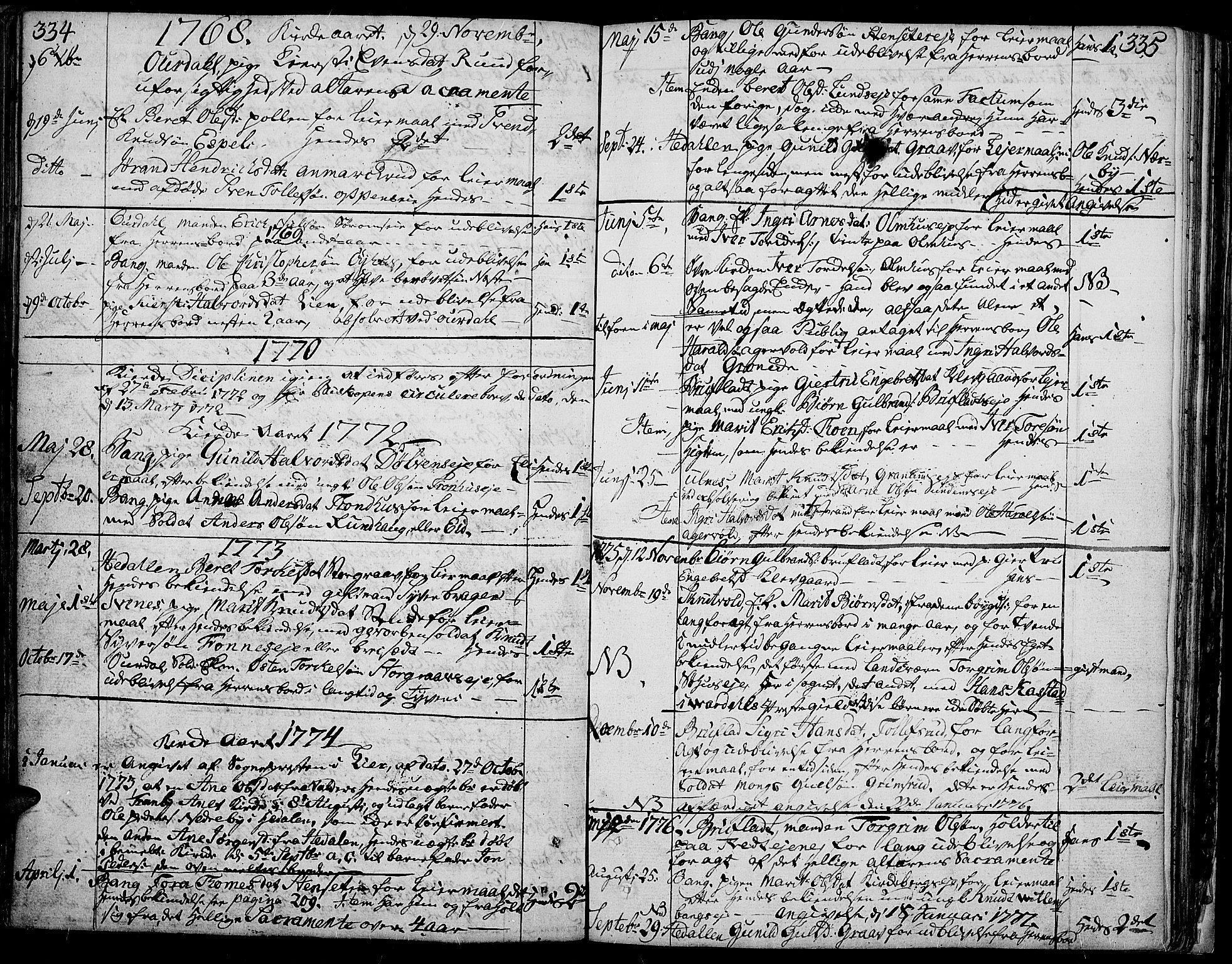 SAH, Aurdal prestekontor, Ministerialbok nr. 5, 1763-1781, s. 334-335