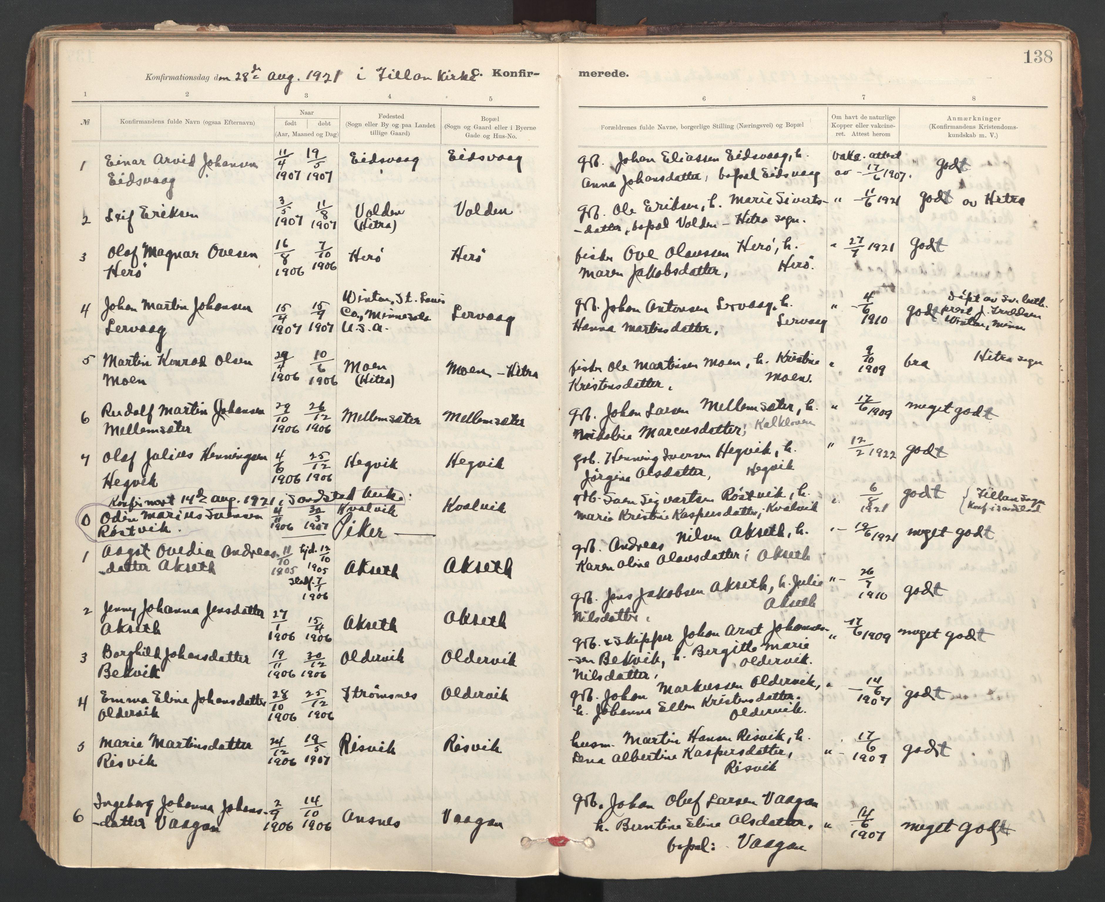 SAT, Ministerialprotokoller, klokkerbøker og fødselsregistre - Sør-Trøndelag, 637/L0559: Ministerialbok nr. 637A02, 1899-1923, s. 138
