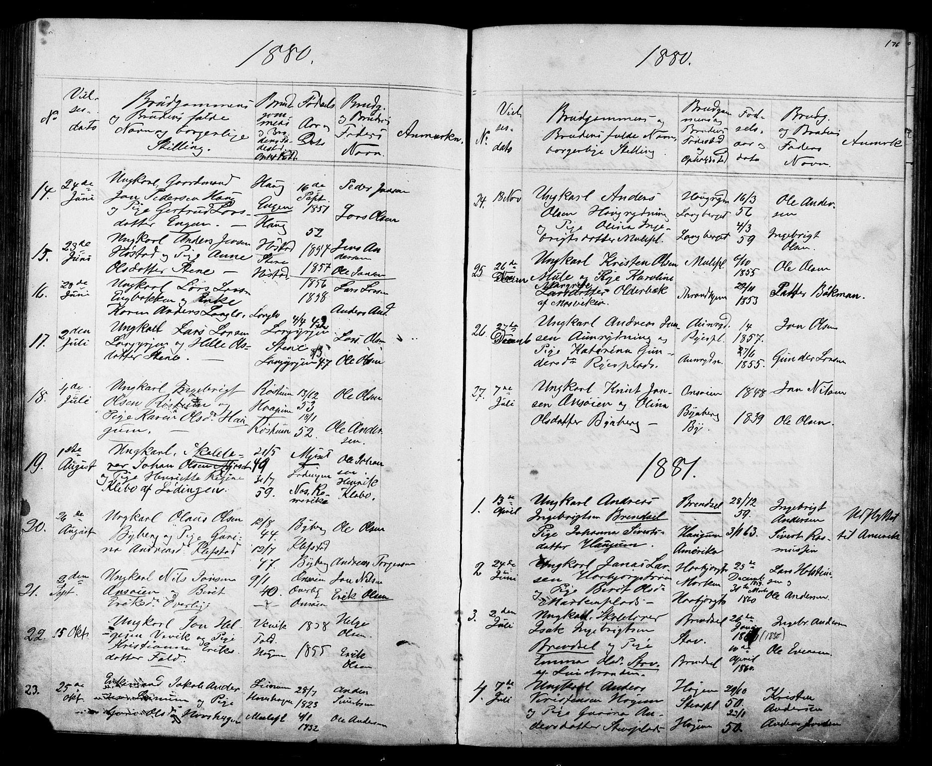 SAT, Ministerialprotokoller, klokkerbøker og fødselsregistre - Sør-Trøndelag, 612/L0387: Klokkerbok nr. 612C03, 1874-1908, s. 176