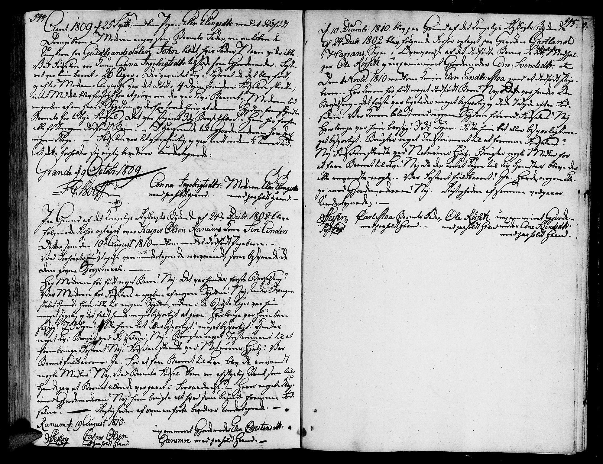 SAT, Ministerialprotokoller, klokkerbøker og fødselsregistre - Nord-Trøndelag, 764/L0545: Ministerialbok nr. 764A05, 1799-1816, s. 544-545