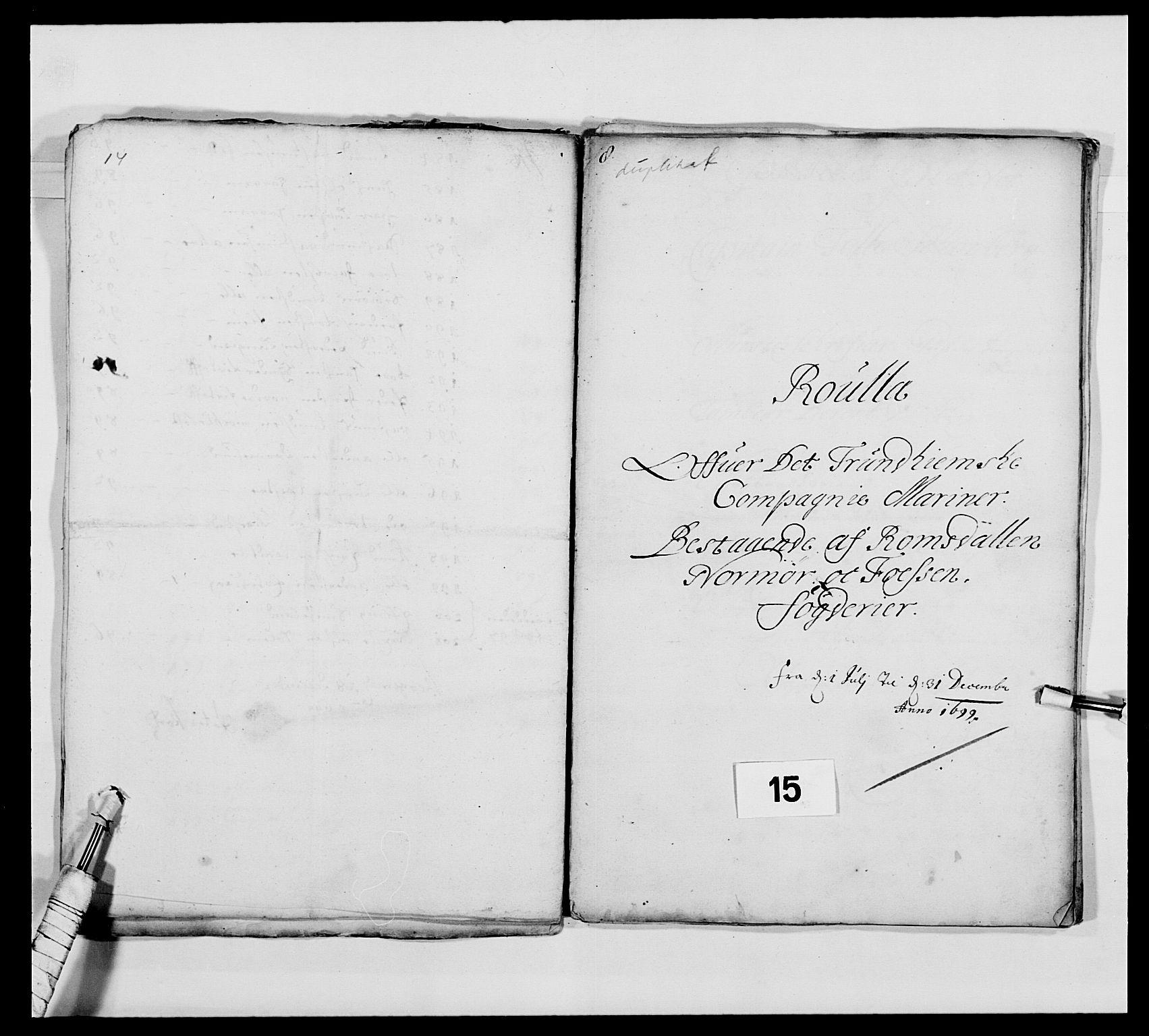 RA, Kommanderende general (KG I) med Det norske krigsdirektorium, E/Ea/L0473: Marineregimentet, 1664-1700, s. 208