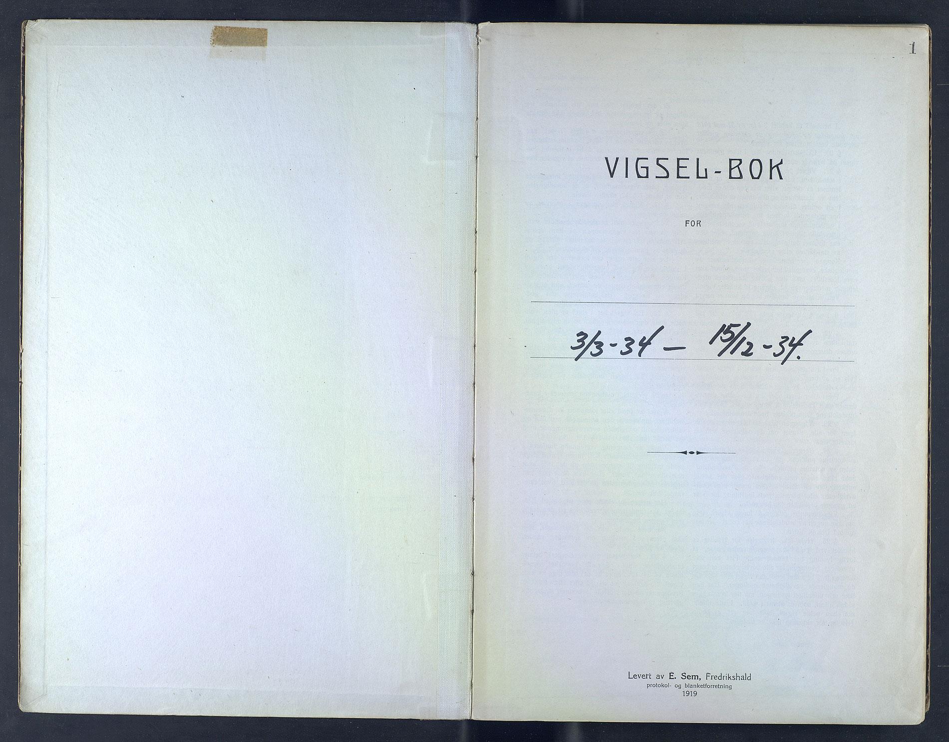 SAB, Bergen byfogd og byskriver*, 1934, s. 1a