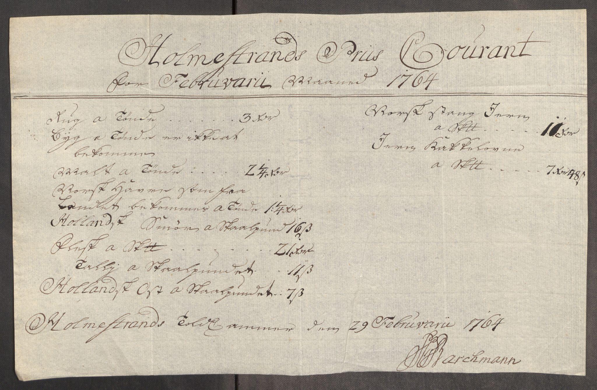 RA, Rentekammeret inntil 1814, Realistisk ordnet avdeling, Oe/L0008: [Ø1]: Priskuranter, 1764-1768, s. 126