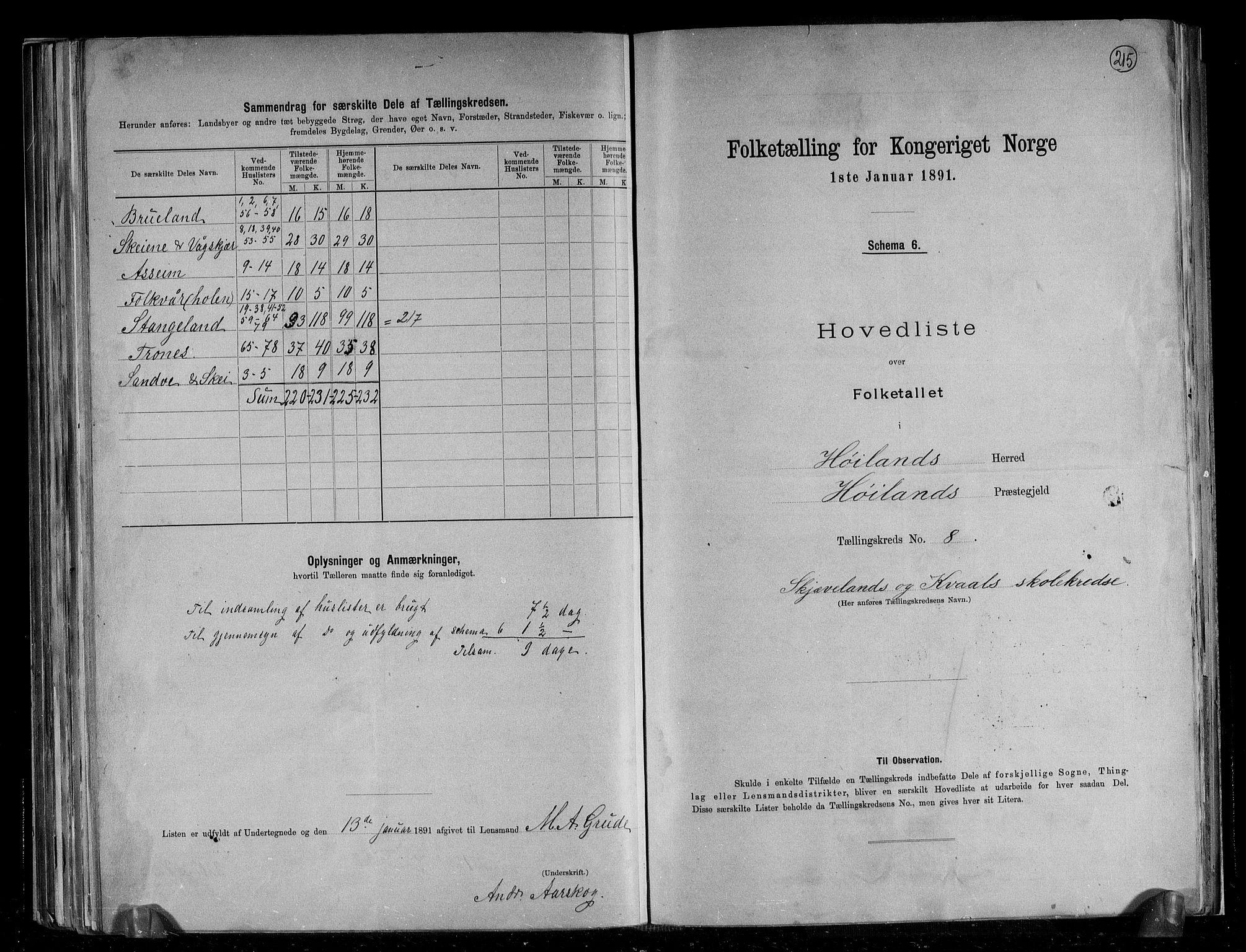 RA, Folketelling 1891 for 1123 Høyland herred, 1891, s. 18