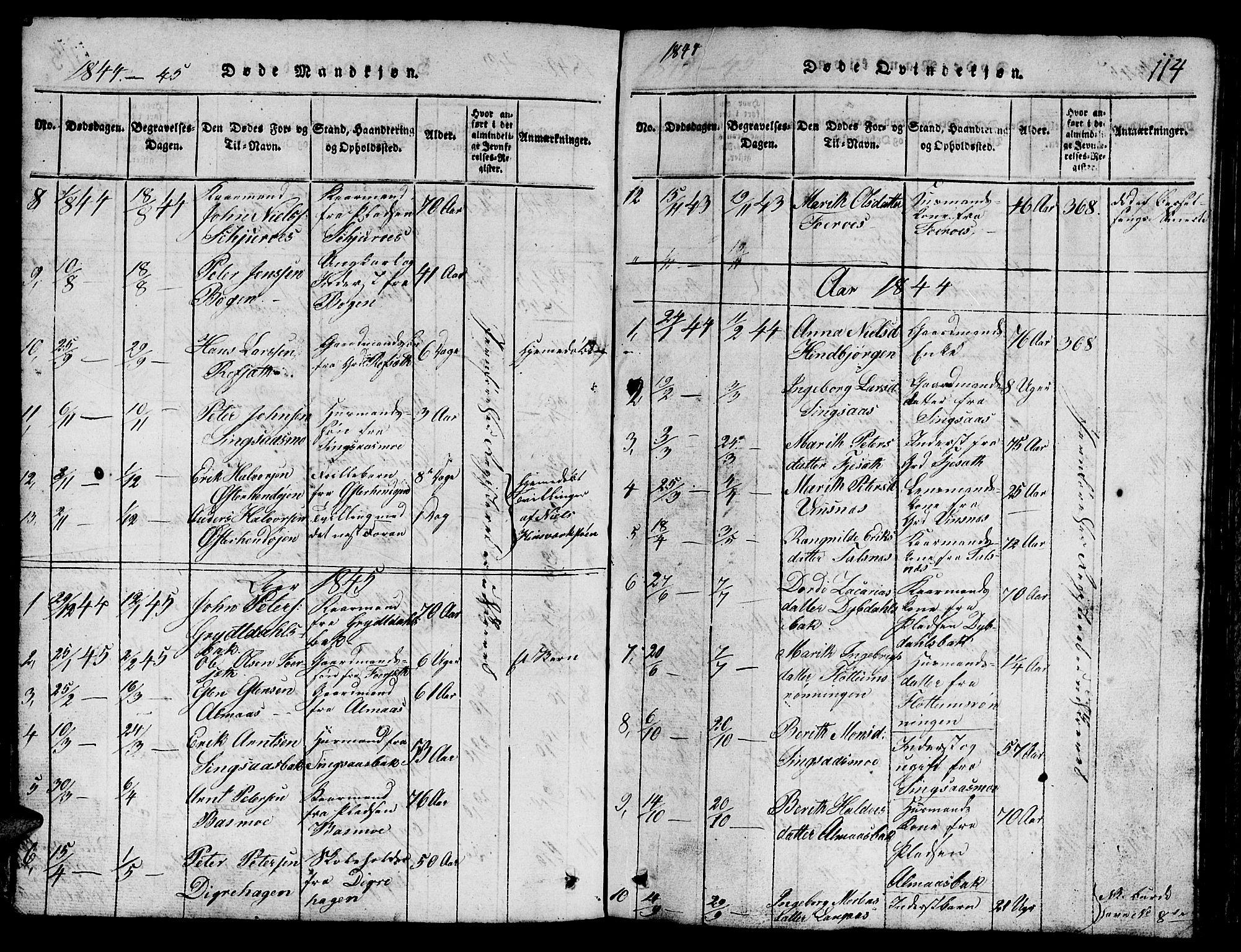 SAT, Ministerialprotokoller, klokkerbøker og fødselsregistre - Sør-Trøndelag, 688/L1026: Klokkerbok nr. 688C01, 1817-1860, s. 114